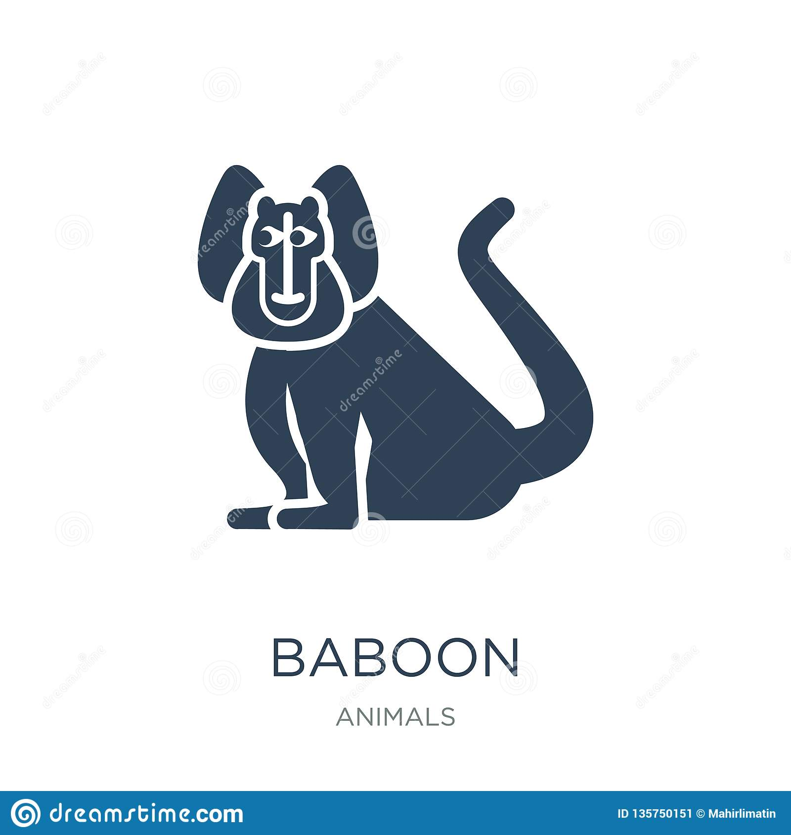 Icône de babouin dans le style à la mode de conception icône de babouin d isolement sur le fond blanc symbole plat simple et mode