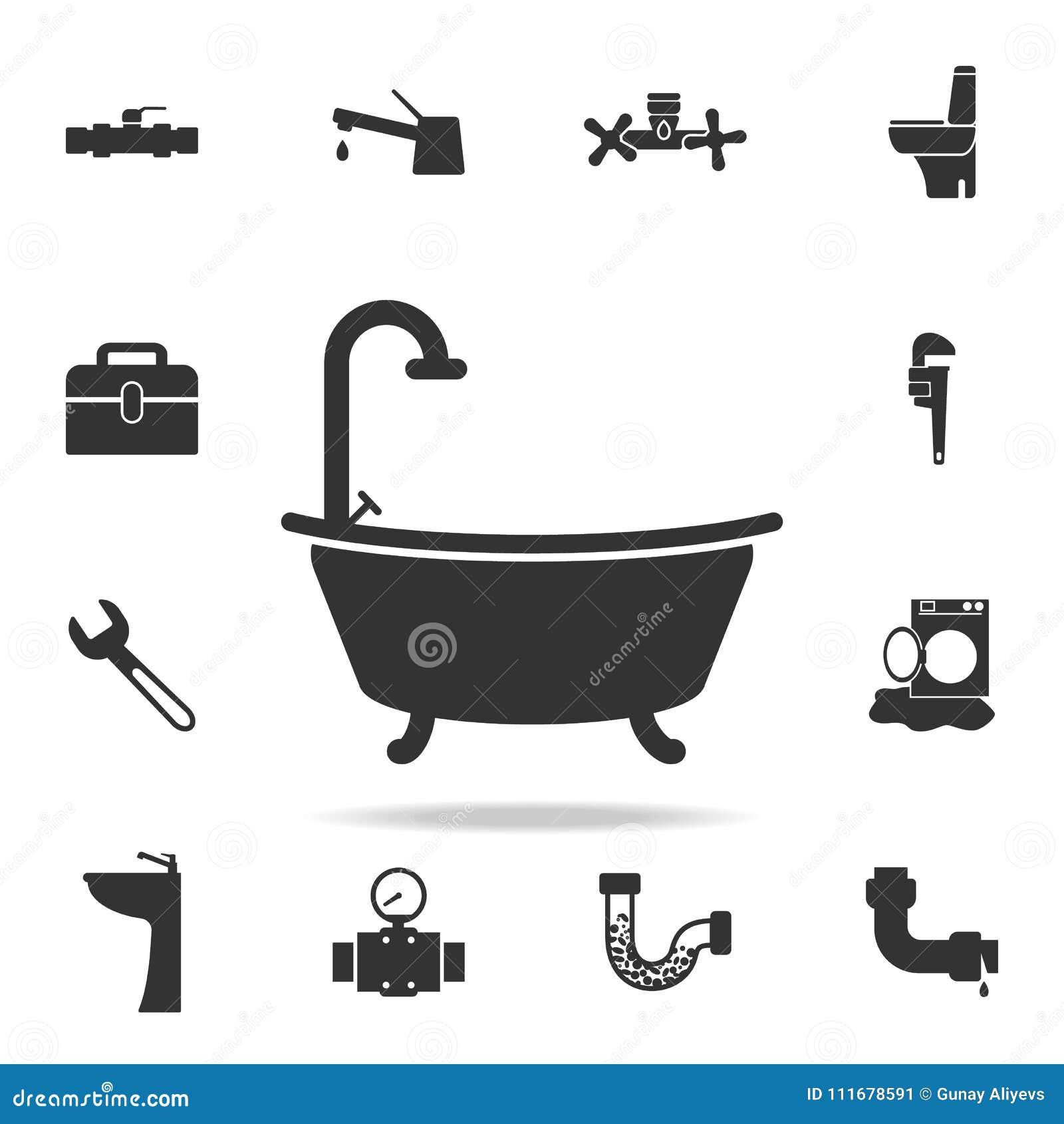 Icône de baignoire Ensemble détaillé d icônes d élément de plombier Conception graphique de qualité de la meilleure qualité Une d