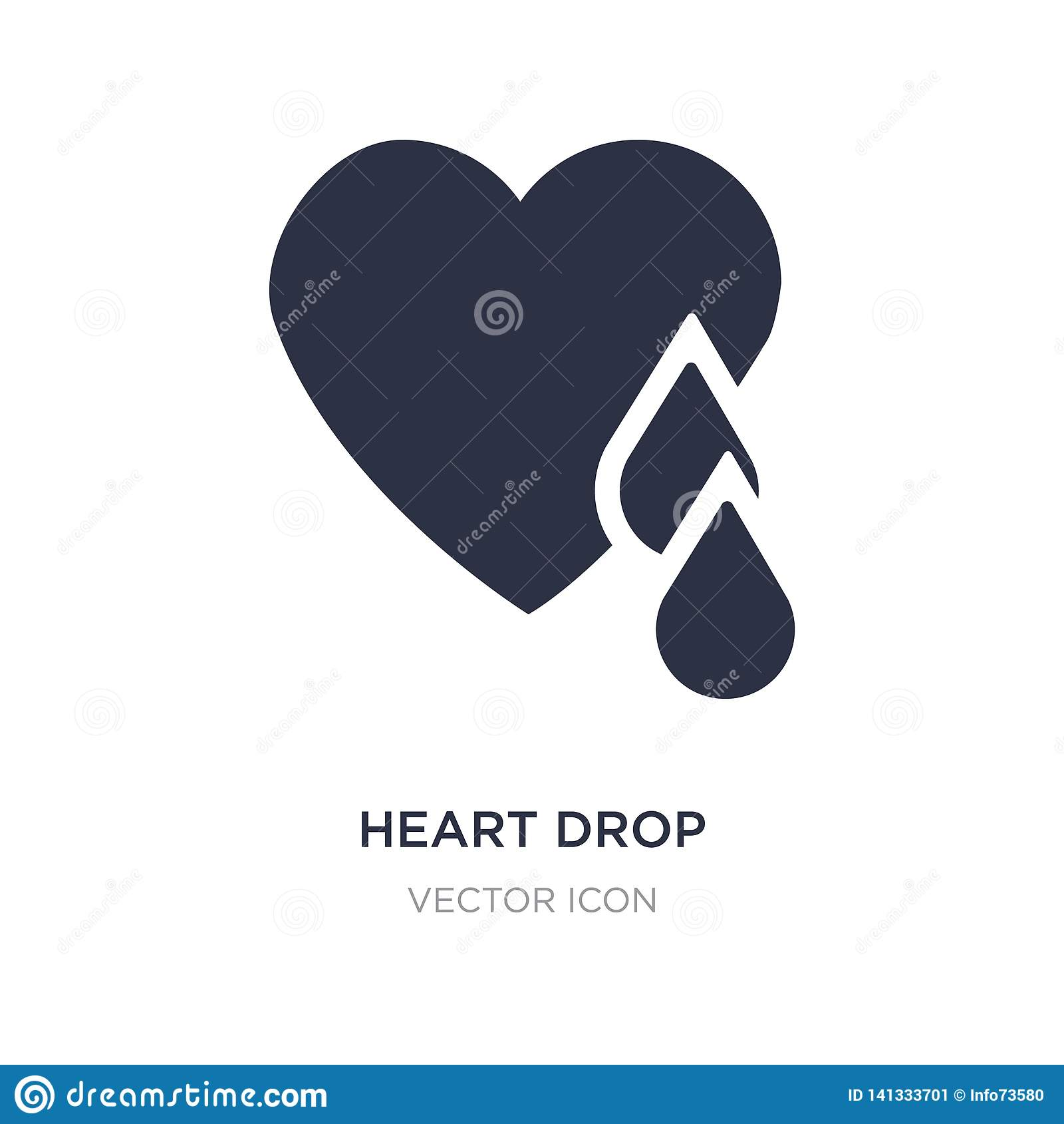 Icône de baisse de coeur sur le fond blanc Illustration simple d élément de concept de charité