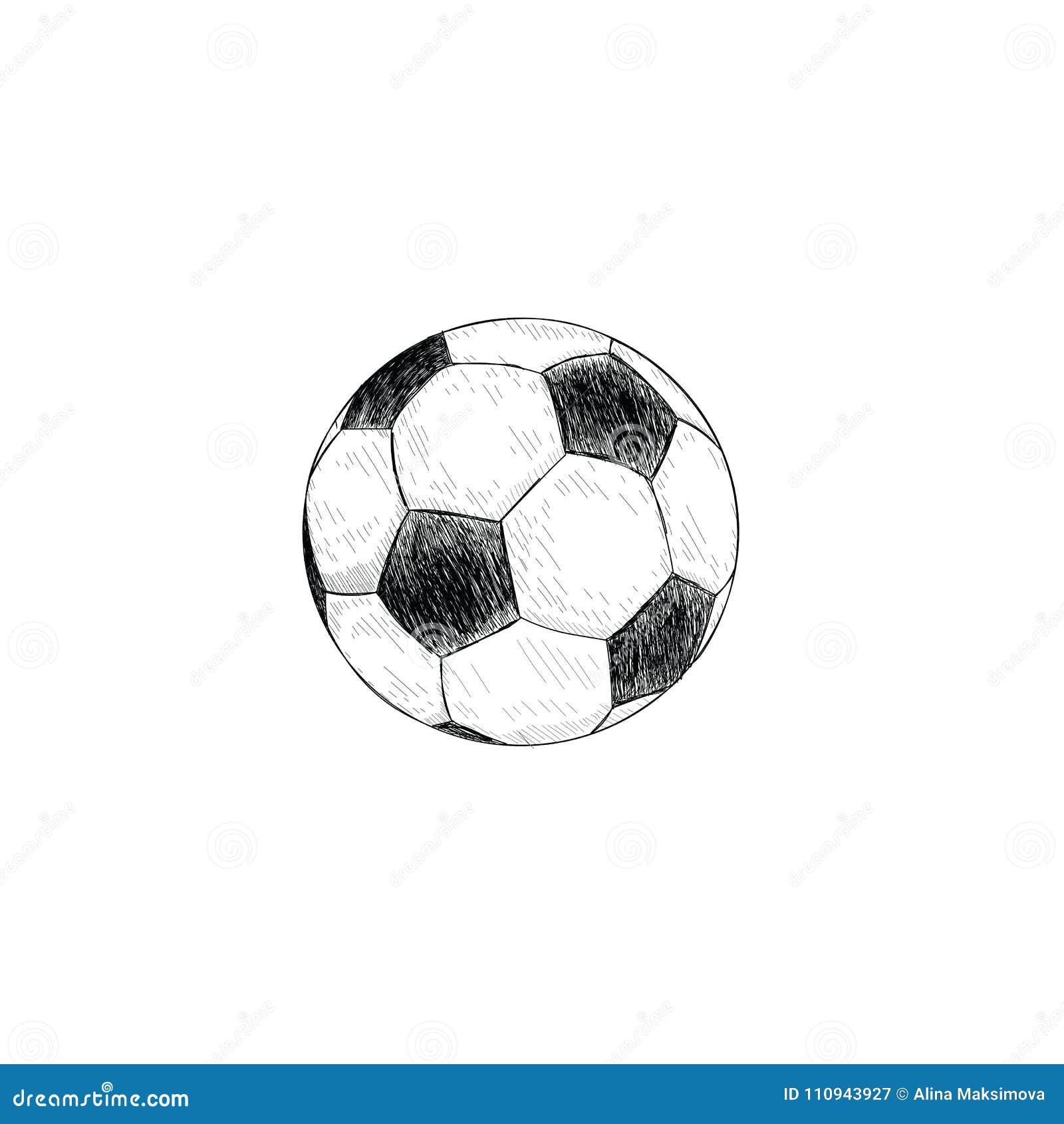 Icône De Ballon De Football Dessin De Main De Croquis De Ballon De ...