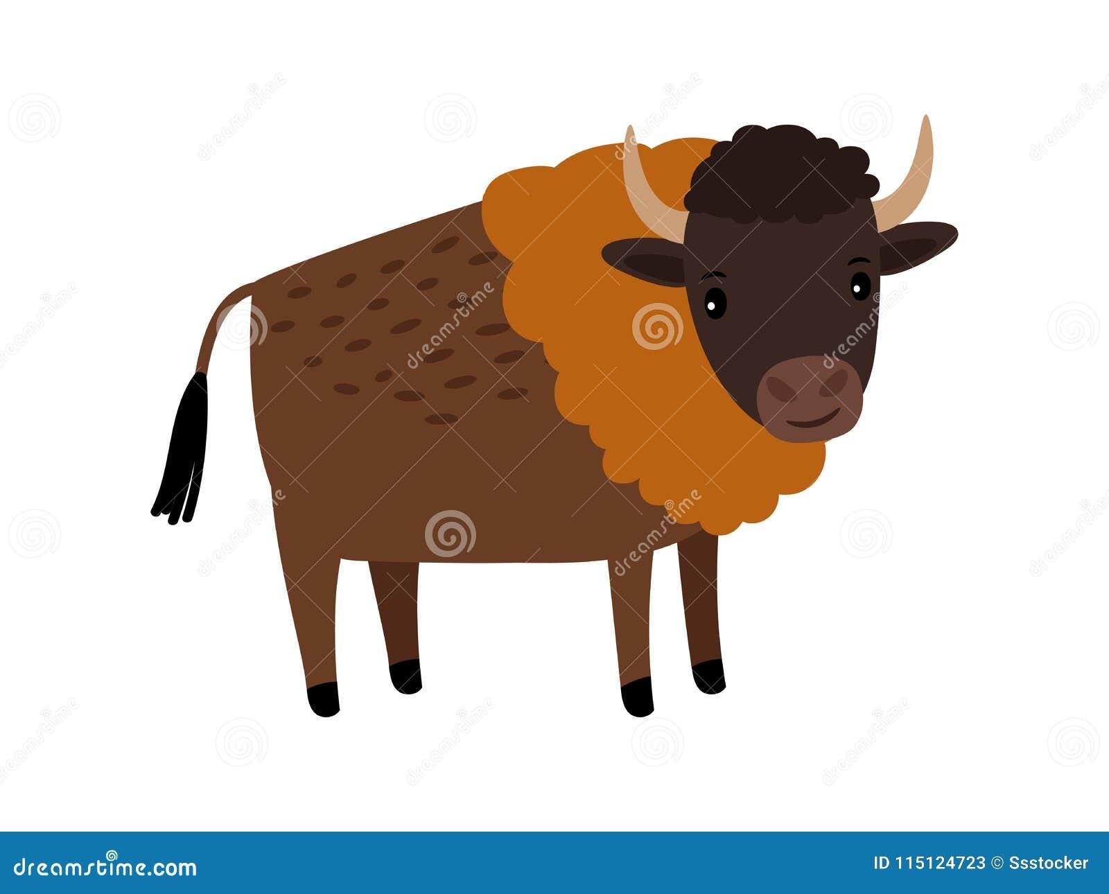 Icône de bande dessinée d animal sauvage de bison