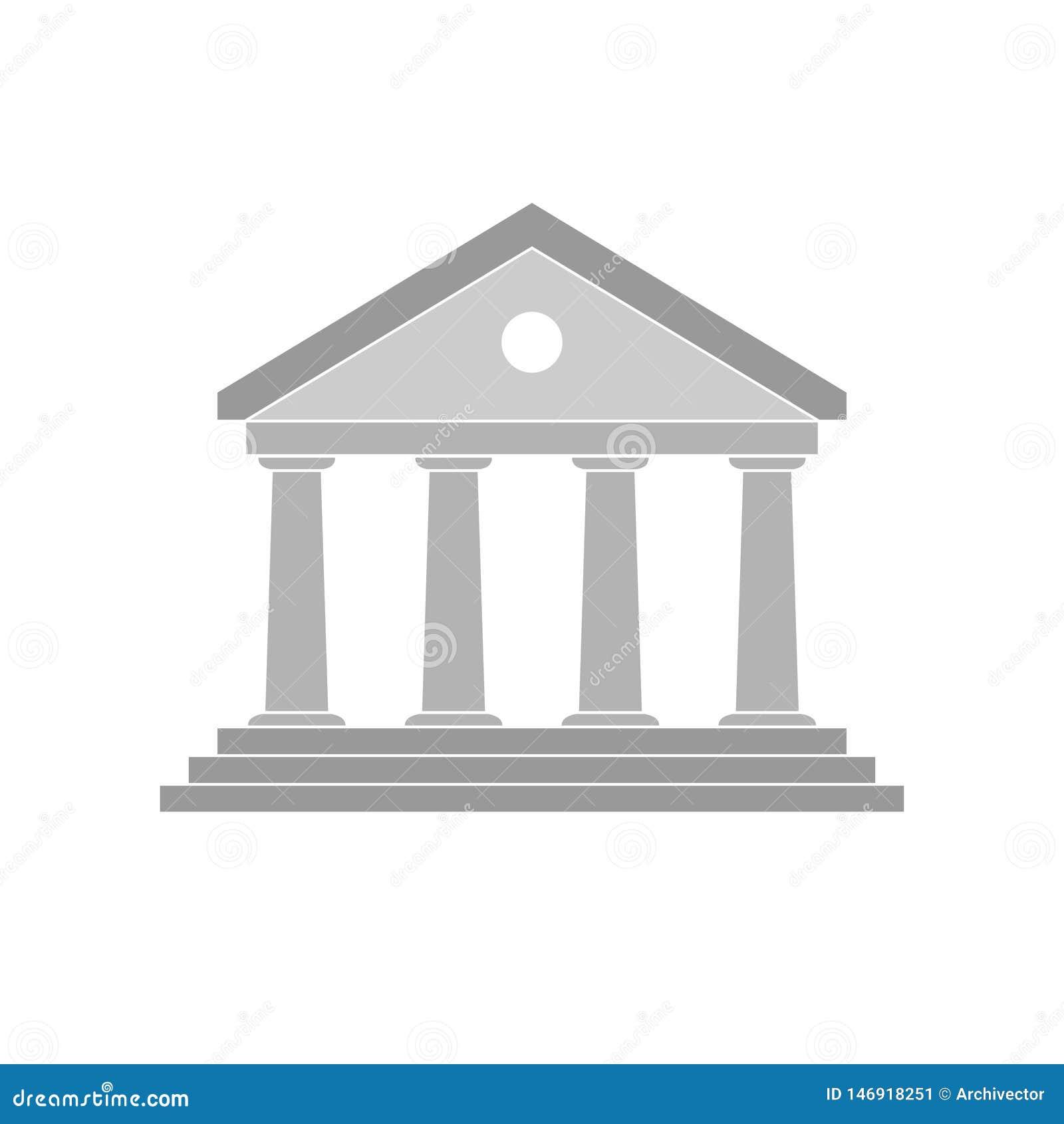 Icône de banque de bâtiment de gris