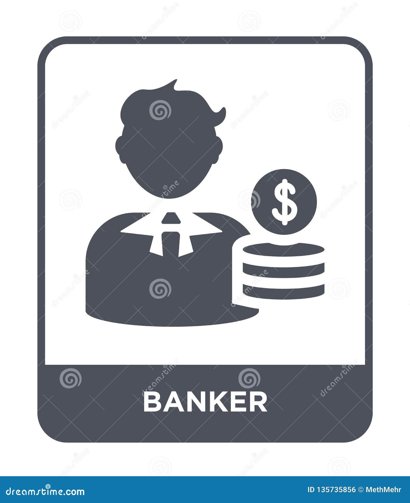 Icône de banquier dans le style à la mode de conception Icône de banquier d isolement sur le fond blanc symbole plat simple et mo