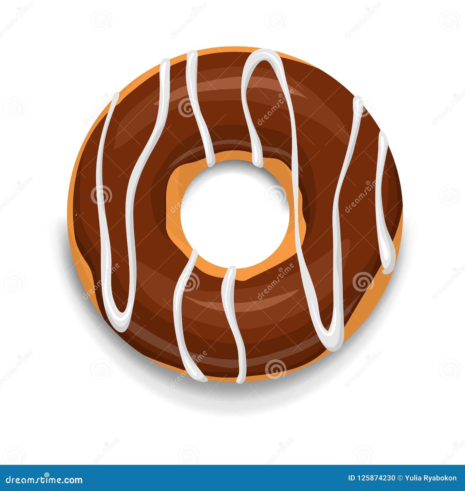 Icône de beignet de chocolat, style de bande dessinée