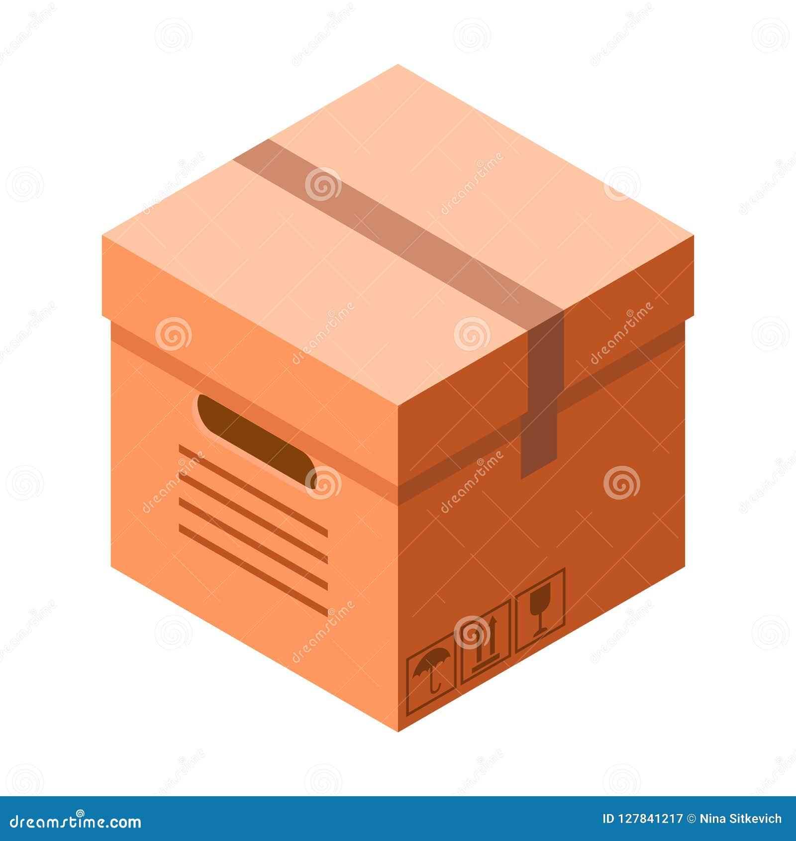 Icône de boîte en carton de la livraison, style isométrique