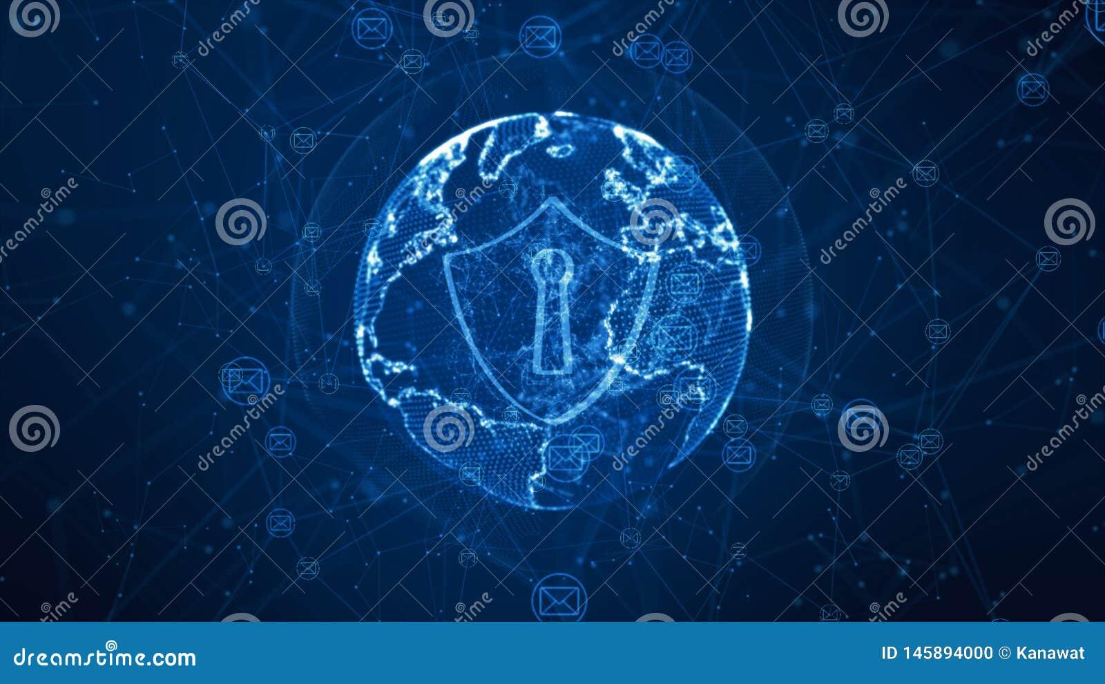 Icône de bouclier et d email sur le réseau global sûr, concept de sécurité de Cyber L ?l?ment de la terre a fourni par la NASA