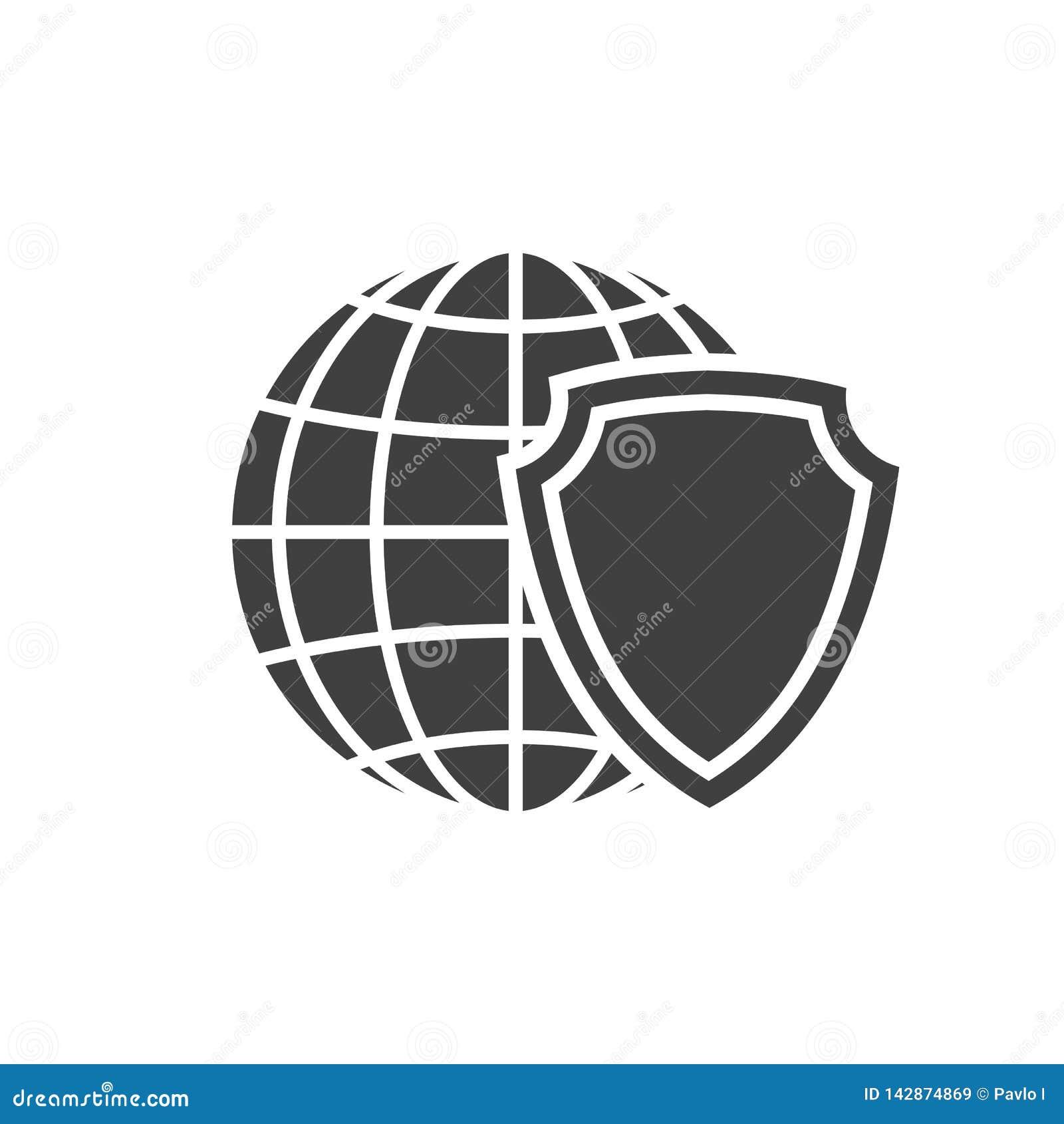 Icône de bouclier de globe de la terre Signe de protection et sécurité du monde Symbole global de logo de protection de réseau In