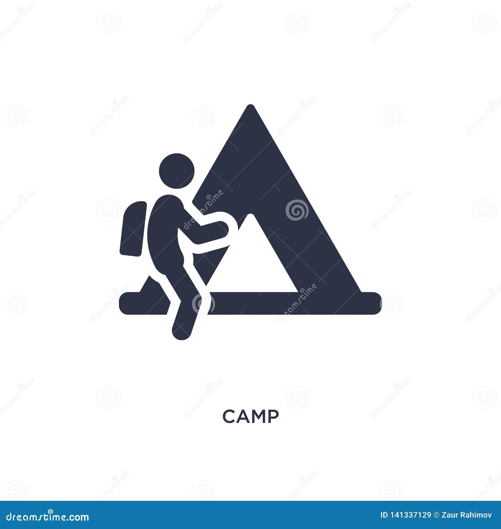 Icône de camp sur le fond blanc Illustration simple d élément de concept d activités en plein air
