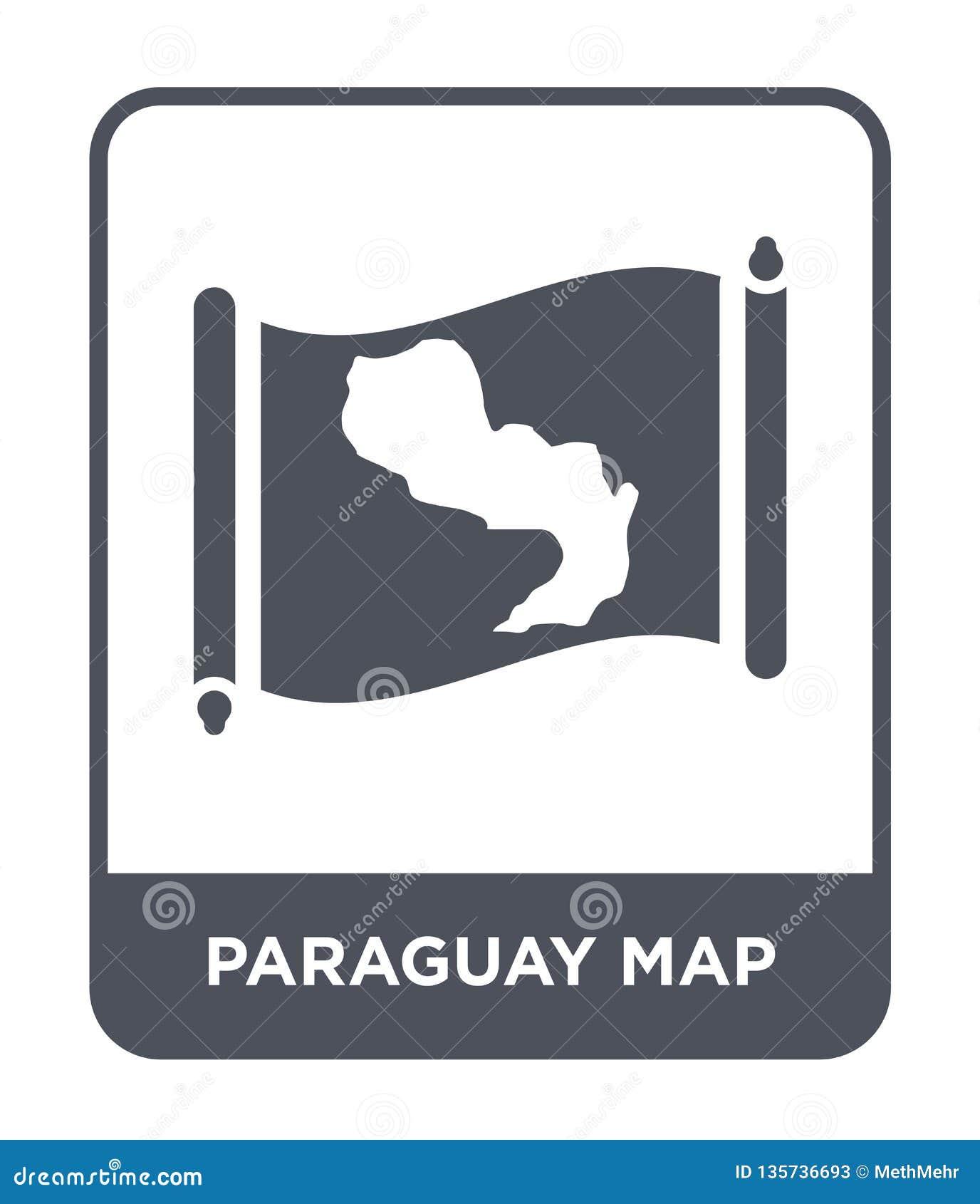 Icône de carte du Paraguay dans le style à la mode de conception icône de carte du Paraguay d isolement sur le fond blanc icône d