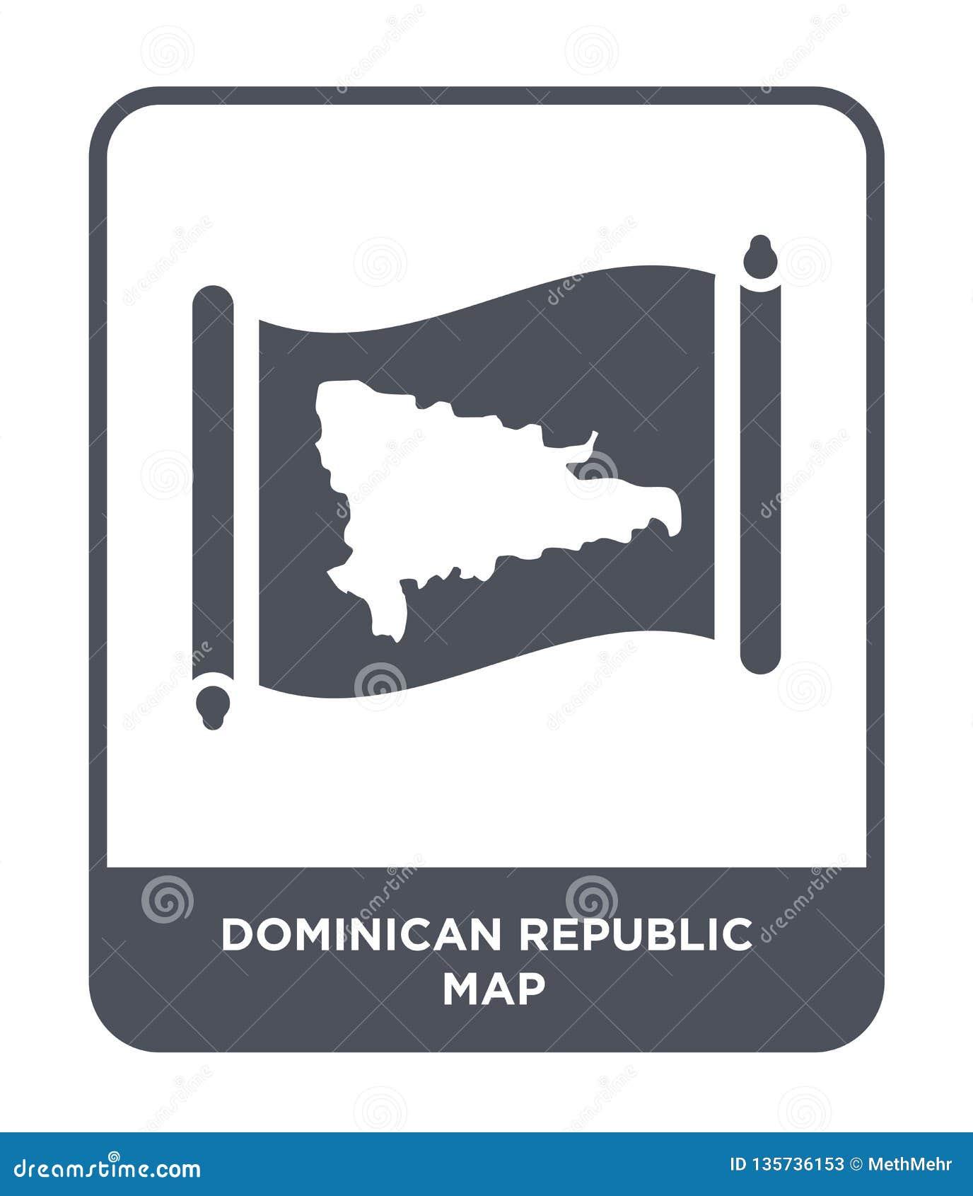 Icône de carte de la République Dominicaine dans le style à la mode de conception icône de carte de la République Dominicaine d i