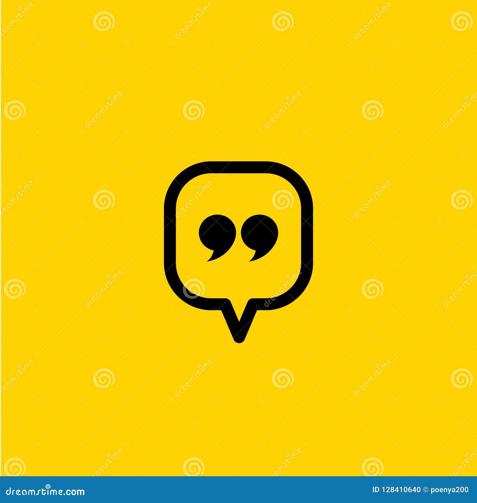 Icône de citation Symbole de paragraphe de citation double marque de virgule signe de la parole de dialogue de bulle Illustration