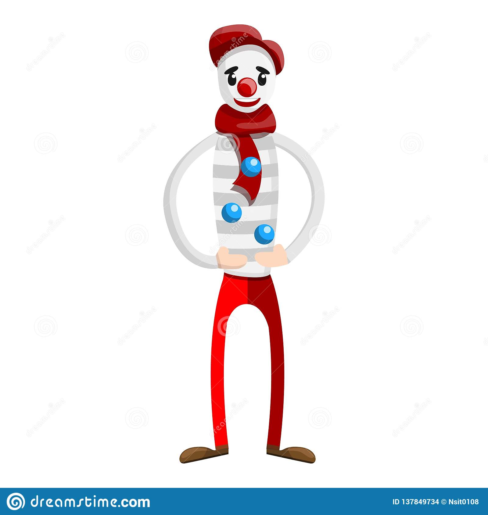 Icone De Clown De Jongleur De Cirque Style De Bande Dessinee