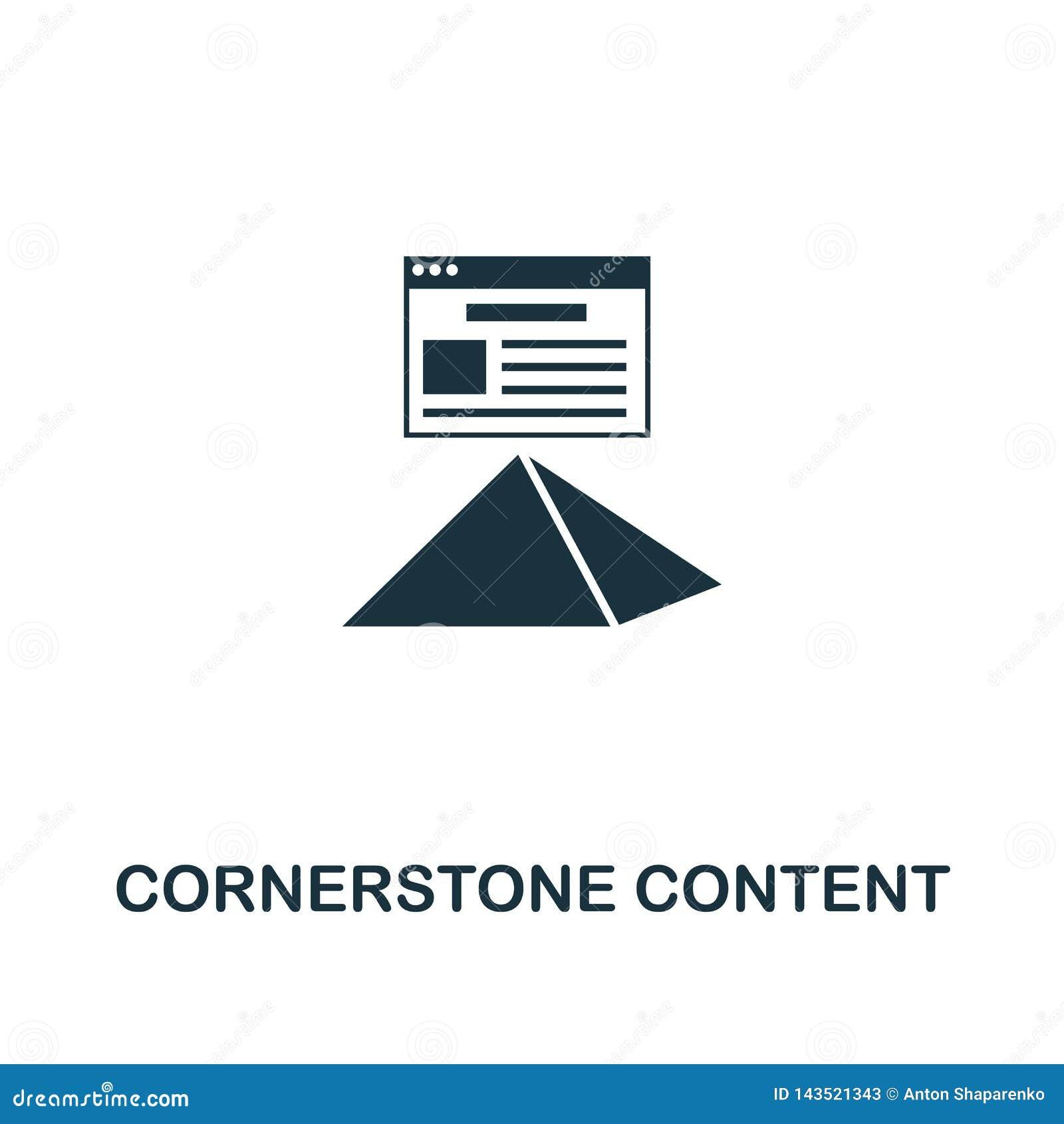 Icône de contenu de pierre angulaire Conception créative d élément de la collection satisfaite d icônes Icône parfaite de contenu