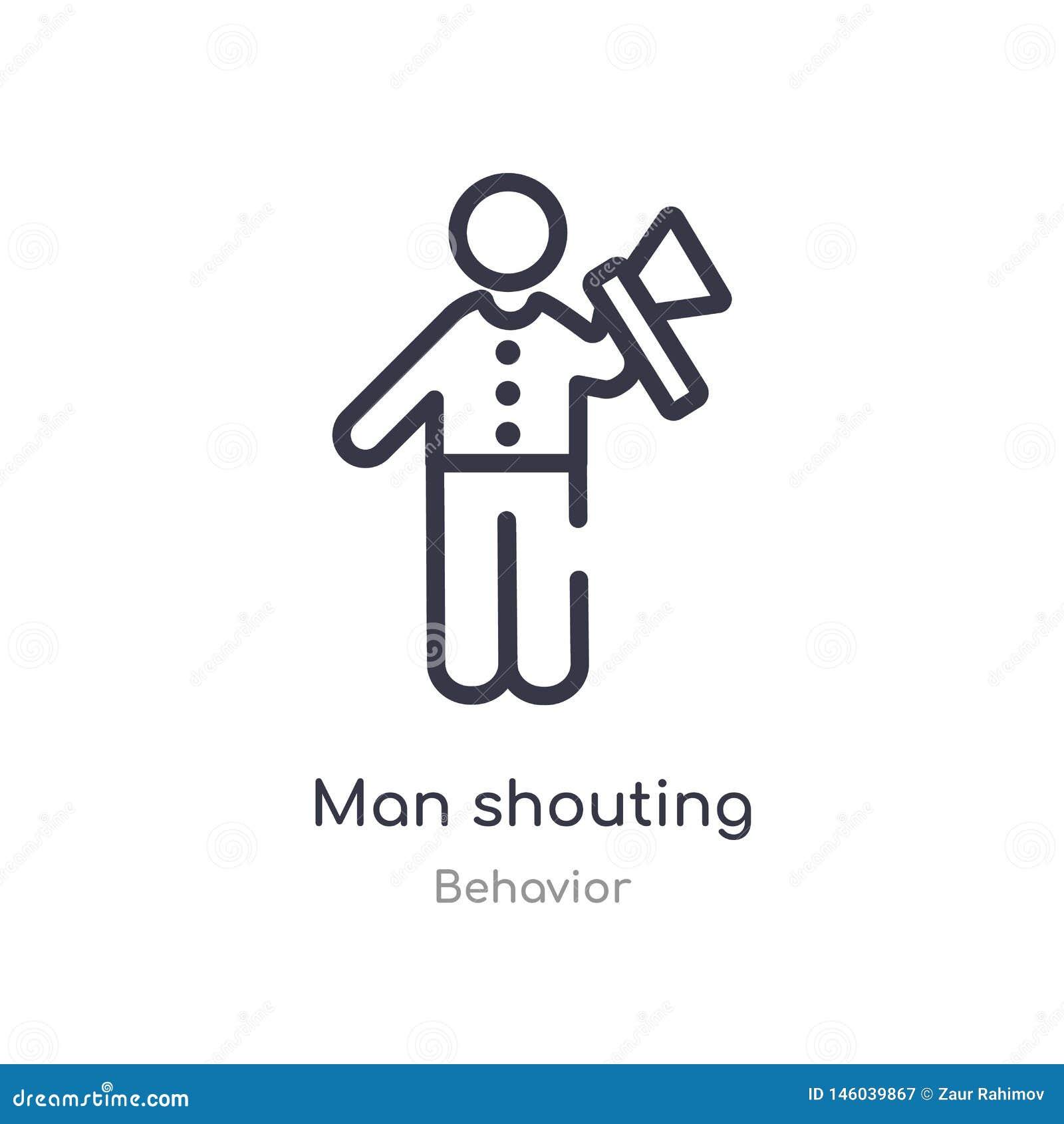 Icône de cri d ensemble d homme r icône de cri d homme mince editable de course dessus
