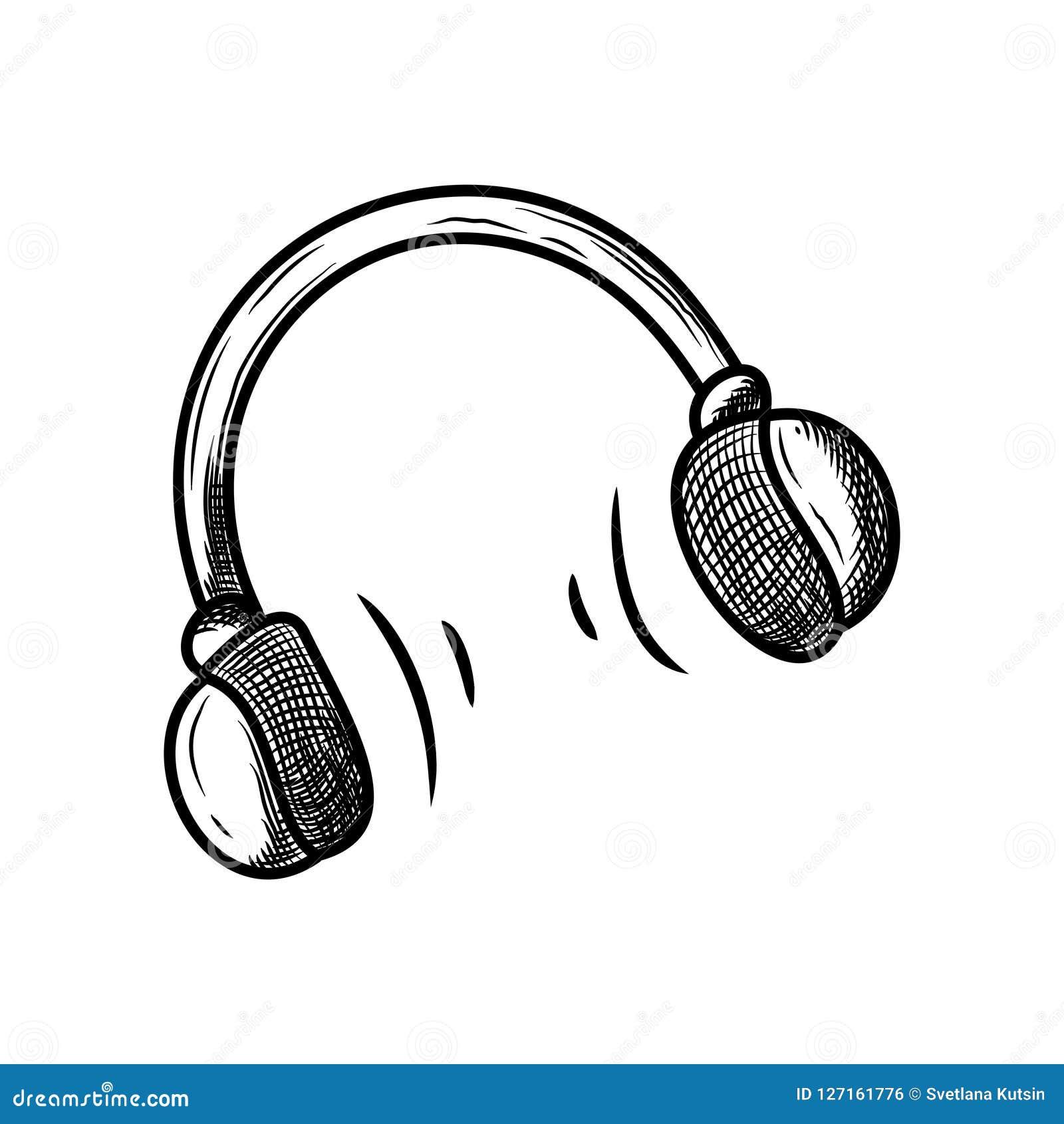 Icône De Croquis De Vecteur D'écouteur D'isolement Sur Le