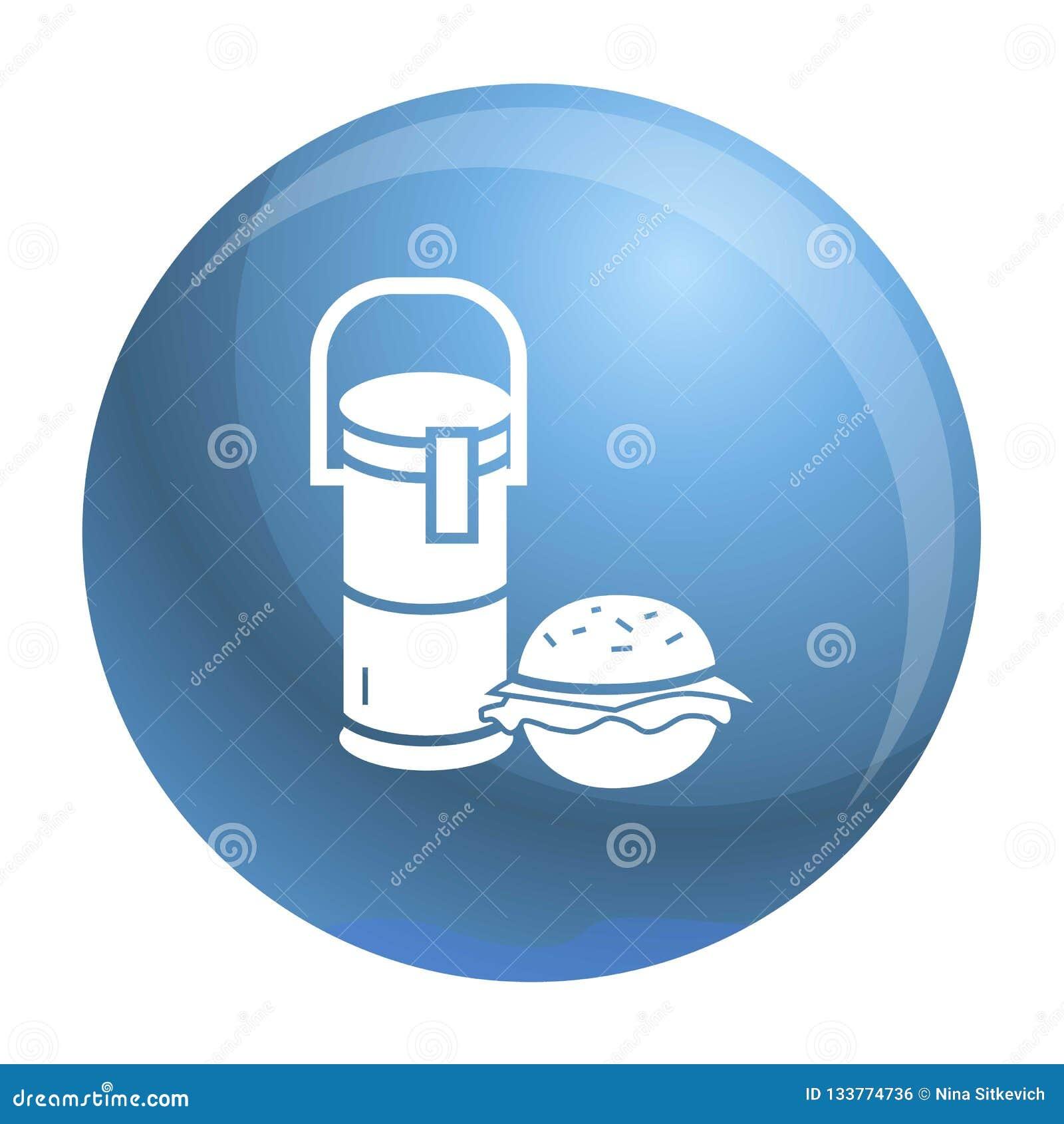 Icône de déjeuner d hamburger de boissons de thermos, style simple