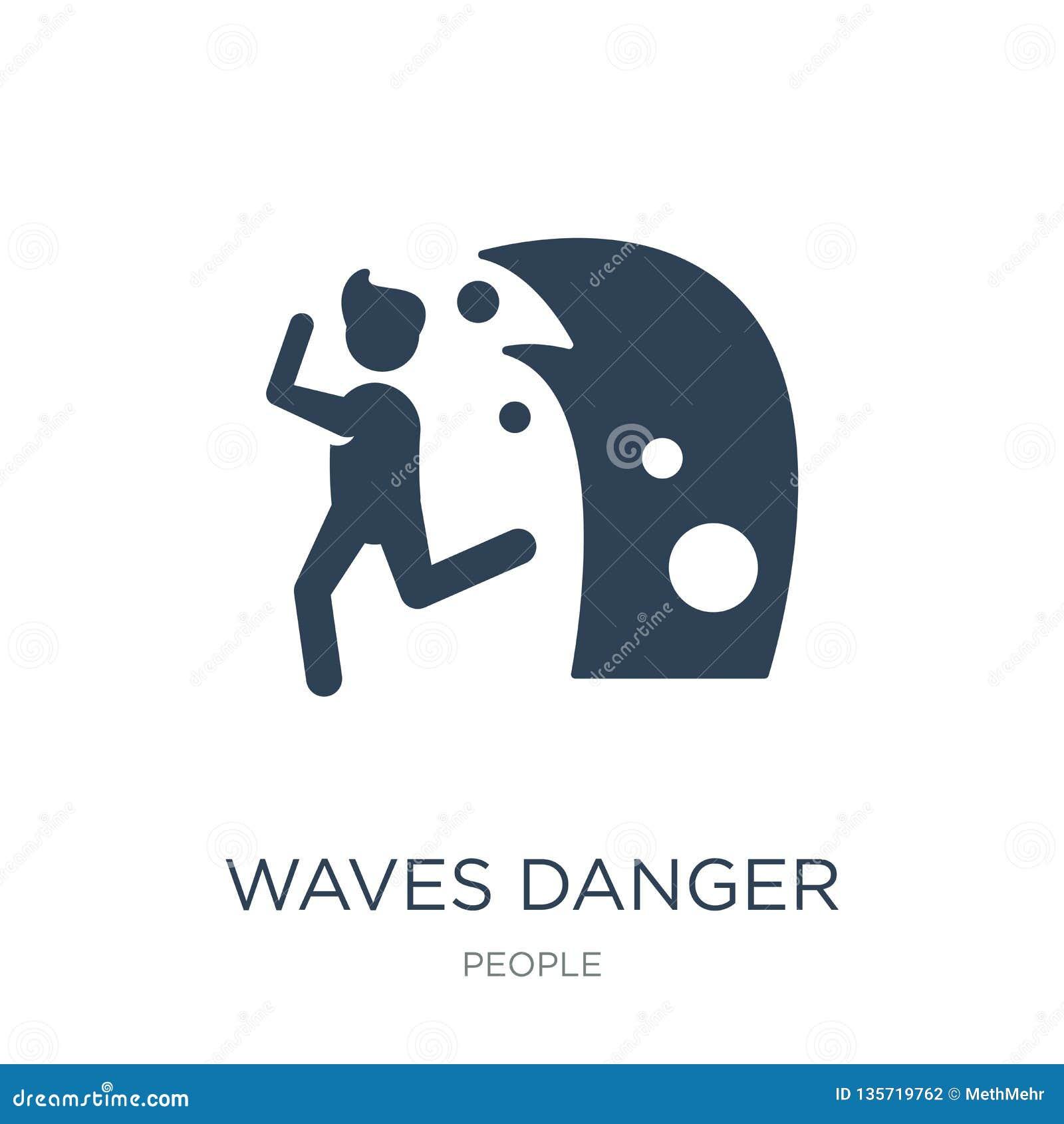 Icône de danger de vagues dans le style à la mode de conception icône de danger de vagues d isolement sur le fond blanc icône de