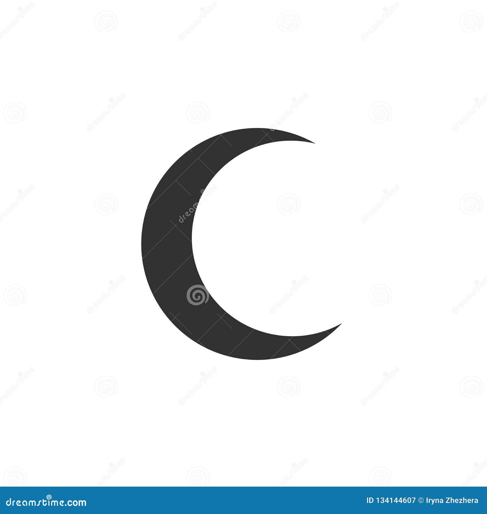 Icône de demi-lune au-dessus du fond blanc Illustration de vecteur