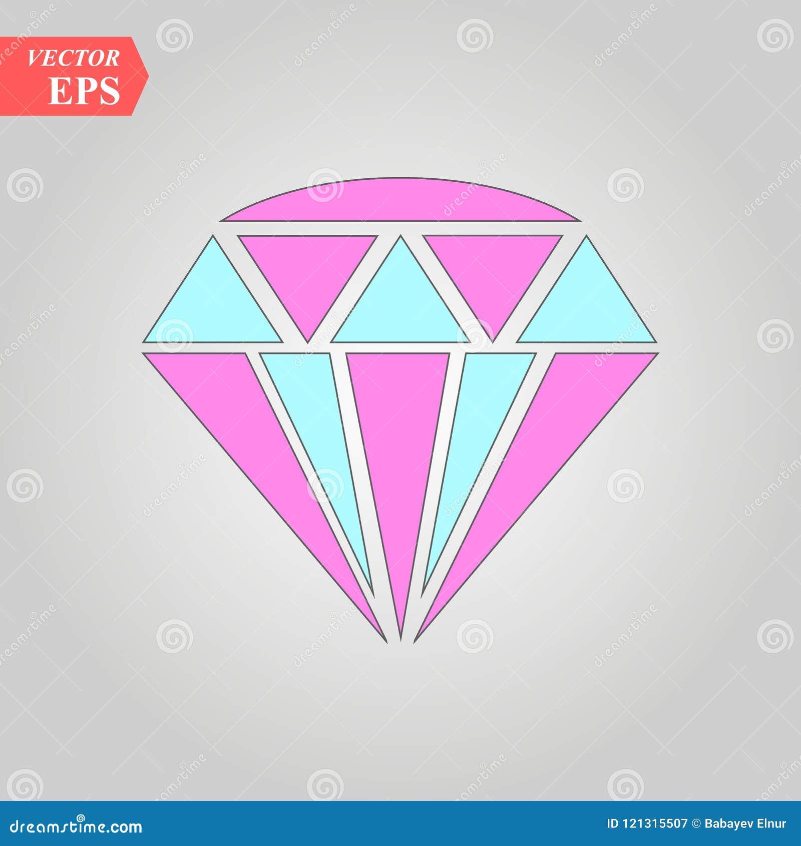 Icône de diamant Illustration de vecteur Signe en cristal brillant Pierre brillante Cristal coloré d isolement sur le fond blanc