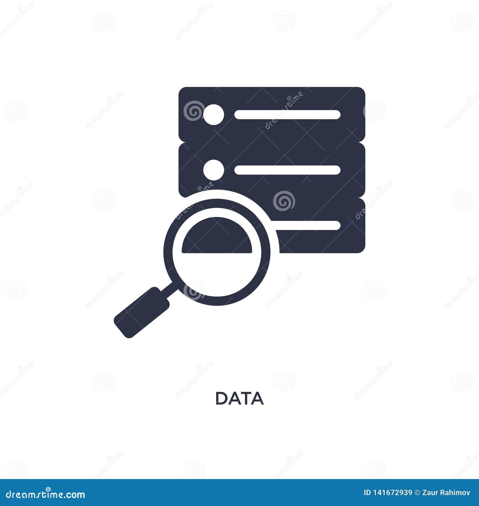 Icône de données sur le fond blanc Illustration simple d élément de concept de stratégie