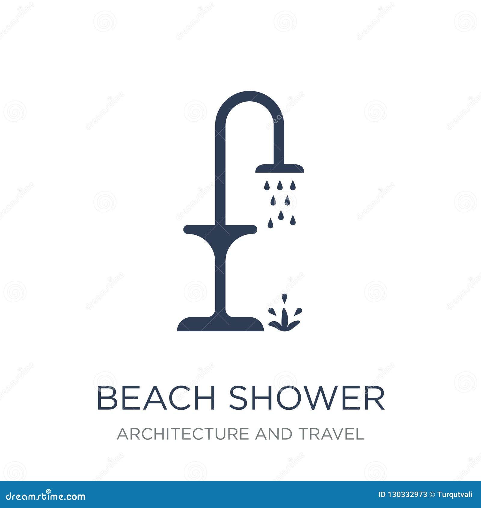 Icône de douche de plage Icône plate à la mode de douche de plage de vecteur sur le blanc