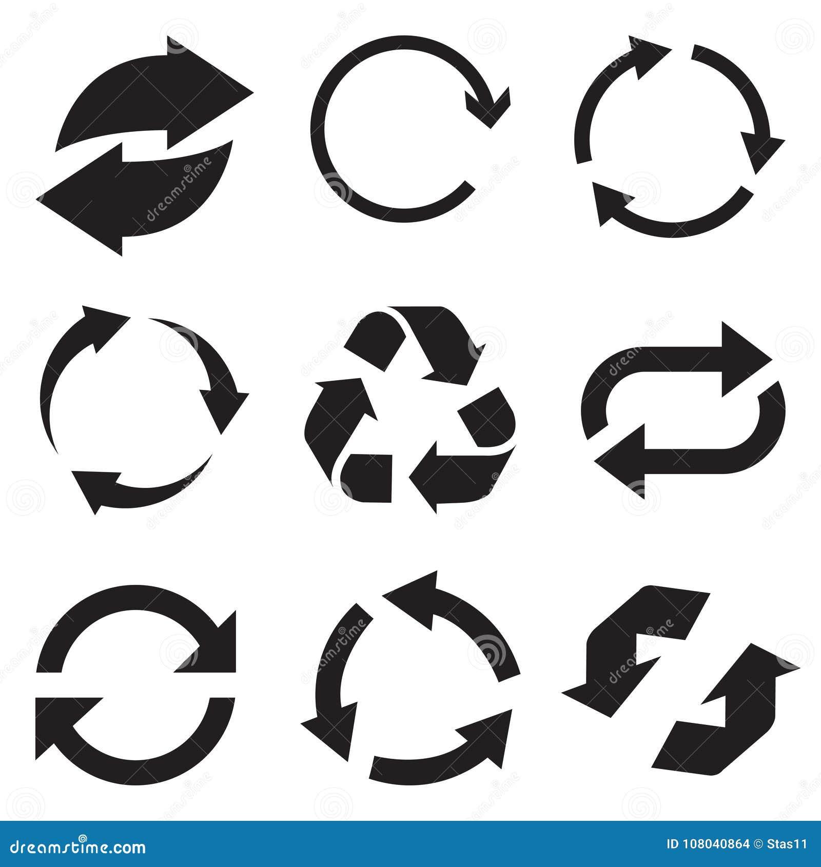 Icône de flèche de cercle Régénérez et rechargez l icône de flèche Flèches de vecteur de rotation réglées Vecteur Illustartion