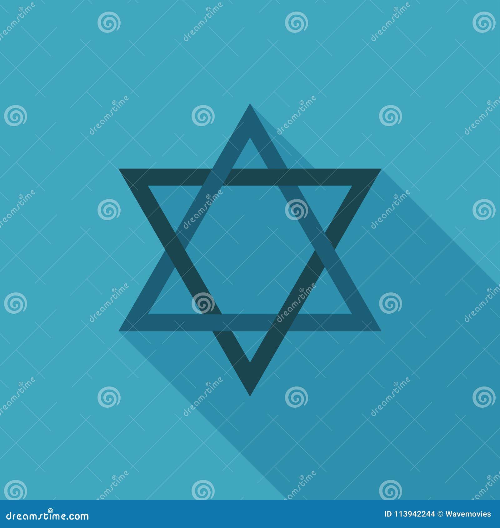 Icône de forme d étoile de David dans la longue conception plate d ombre