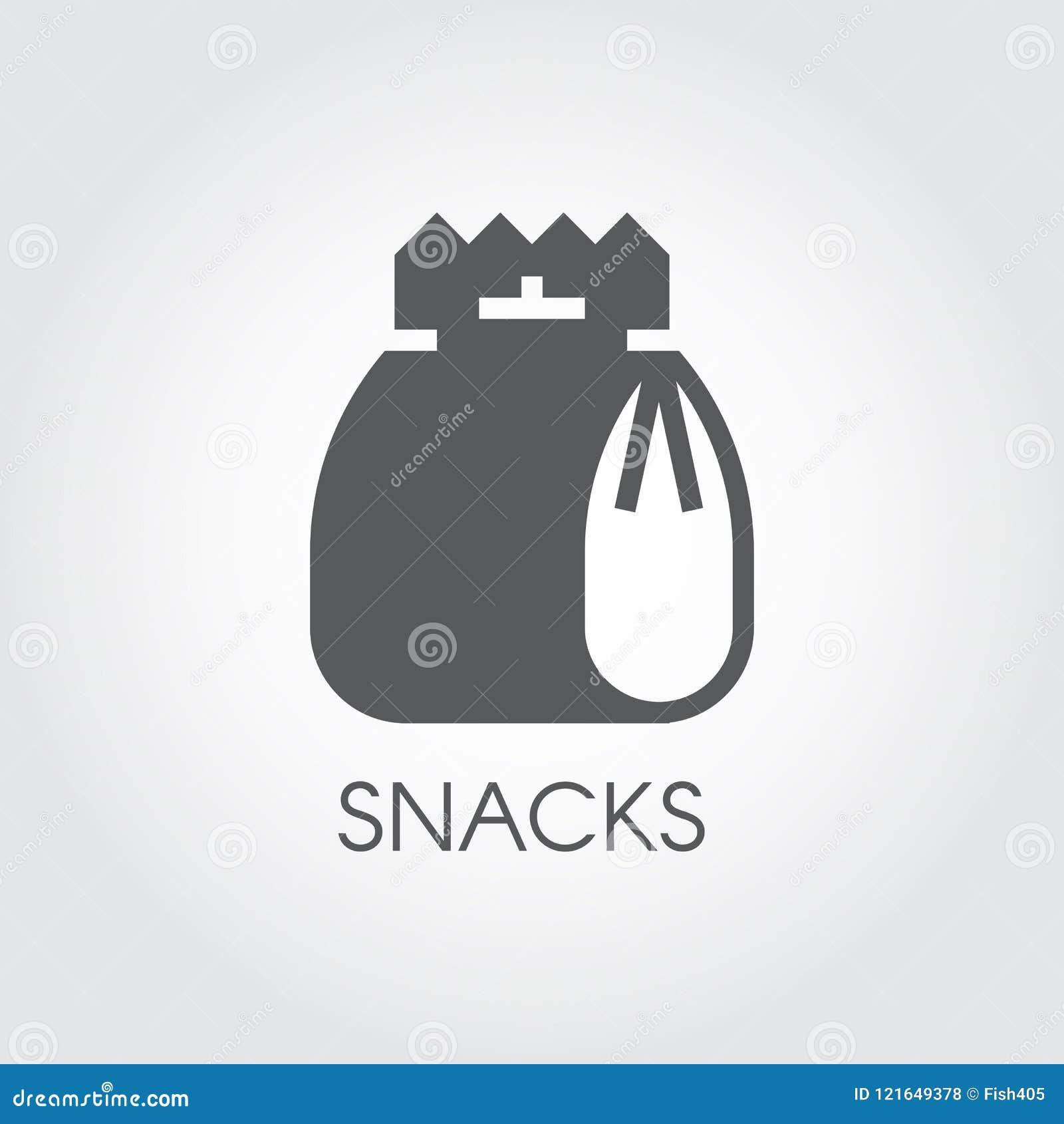 Icône de glyph de casse-croûte Paquet avec le déjeuner, les aliments de préparation rapide, les pommes chips ou tout autre label