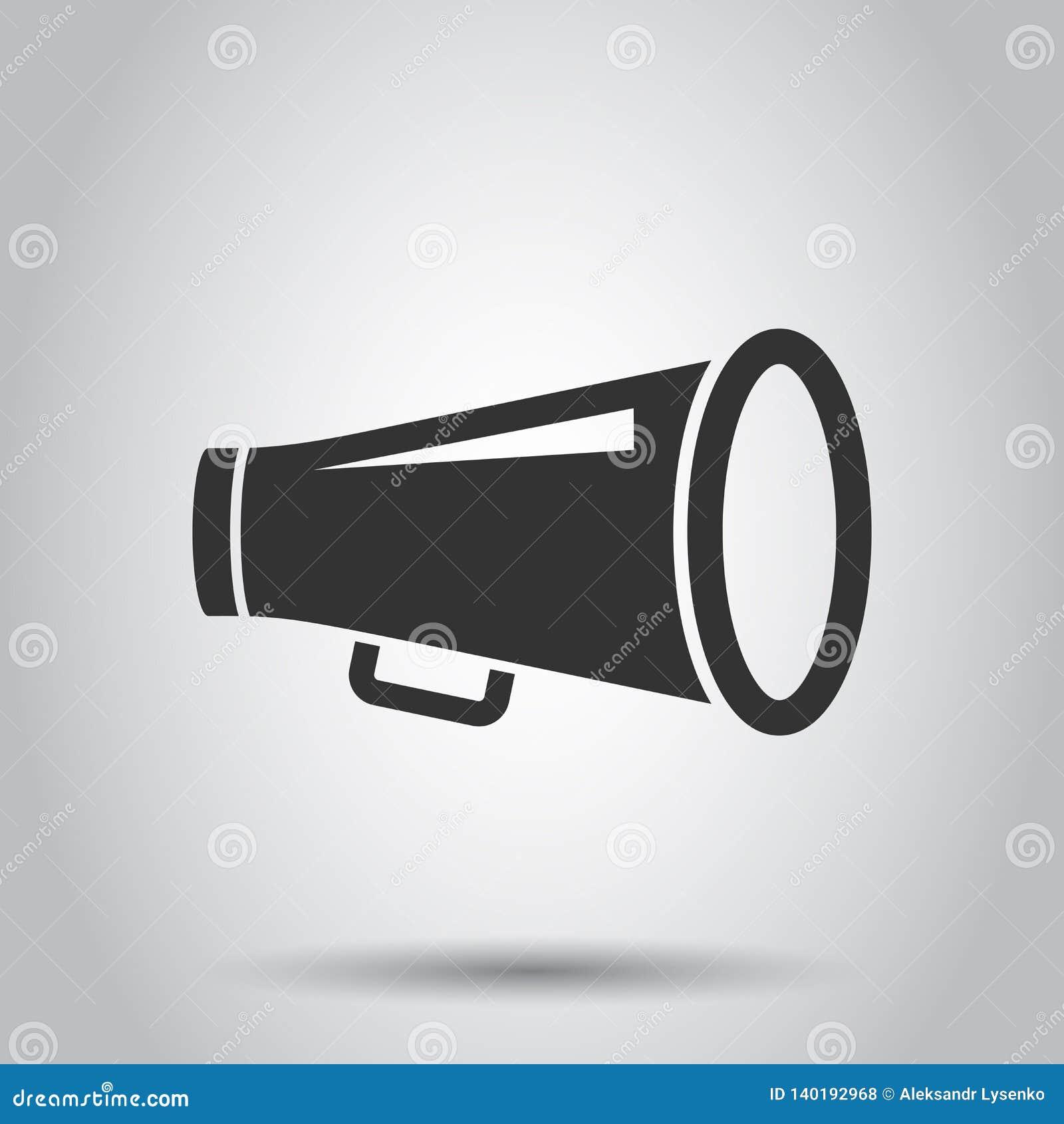 Icône de haut-parleur de mégaphone dans le style plat Illustration audio de vecteur d annonce de corne de brume sur le fond blanc