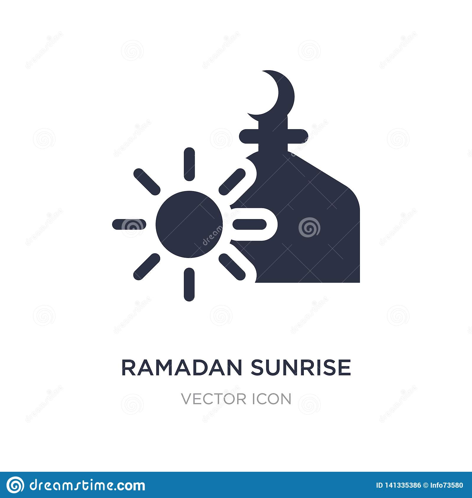 Icône de lever de soleil de Ramadan sur le fond blanc Illustration simple d élément de concept de religion