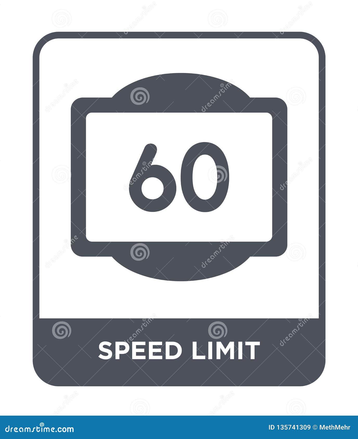 Icône de limitation de vitesse dans le style à la mode de conception icône de limitation de vitesse d isolement sur le fond blanc