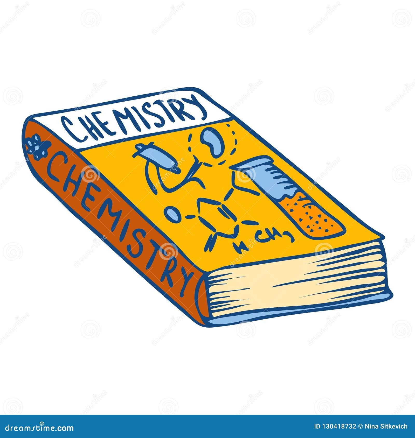 Icône de livre de chimie, style tiré par la main