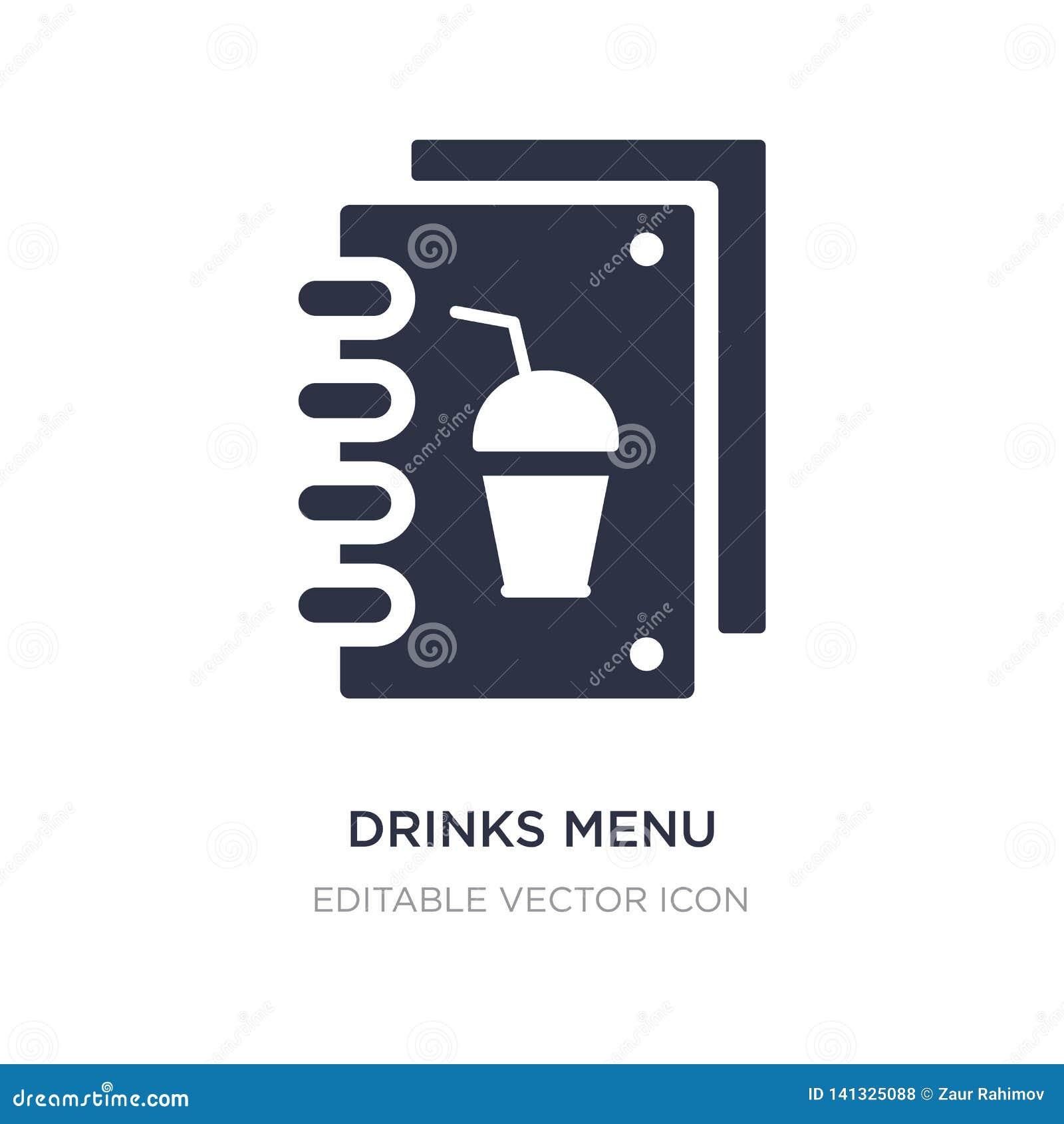 Icône de menu de boissons sur le fond blanc Illustration simple d élément de concept de nourriture