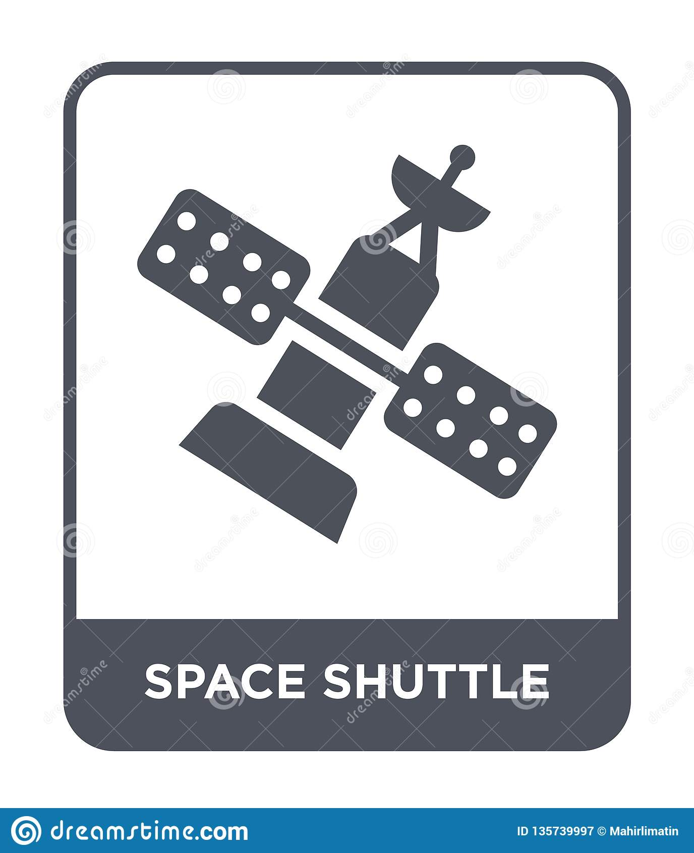 Icône de navette spatiale dans le style à la mode de conception Icône de navette spatiale d isolement sur le fond blanc icône de