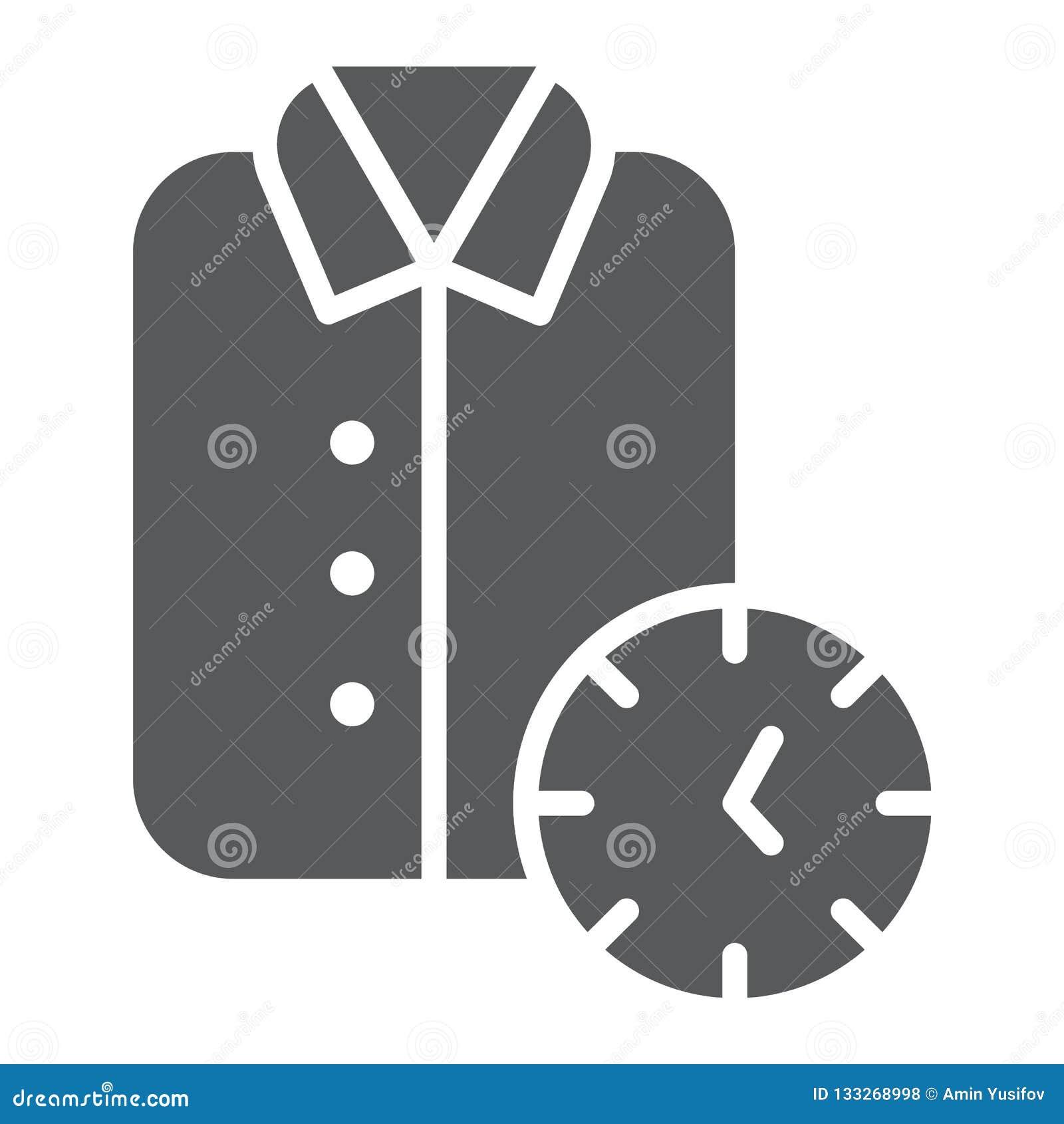 Icône de nettoyage de glyph, propre exprès et service, signe de chemise, graphiques de vecteur, un modèle solide sur un fond blan