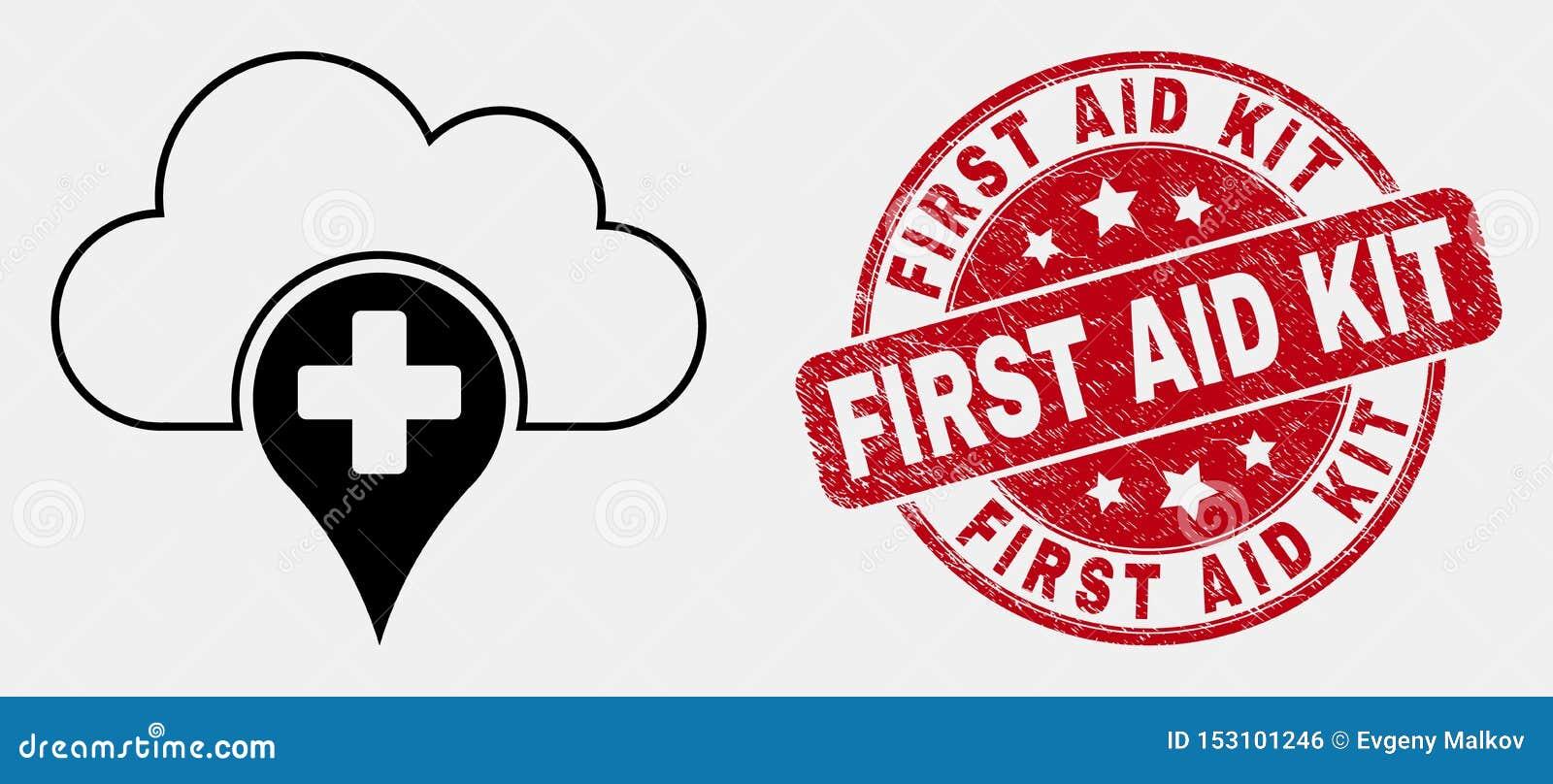 Icône de nuage de vecteur et premiers secours médicaux linéaires Kit Seal de grunge