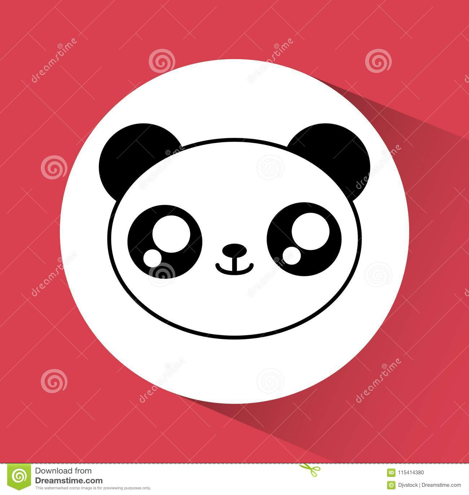Icone De Panda De Kawaii Animal Mignon Dessin De Vecteur