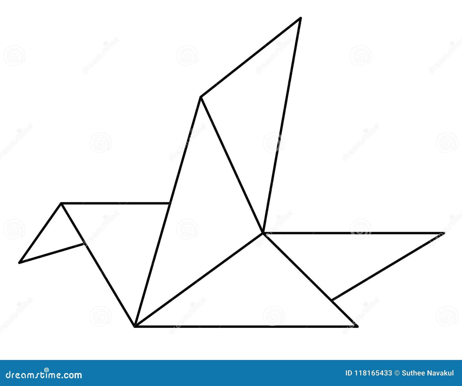 Icône De Papier Doiseau Dorigami Sur Le Fond Blanc Ligne Signe D