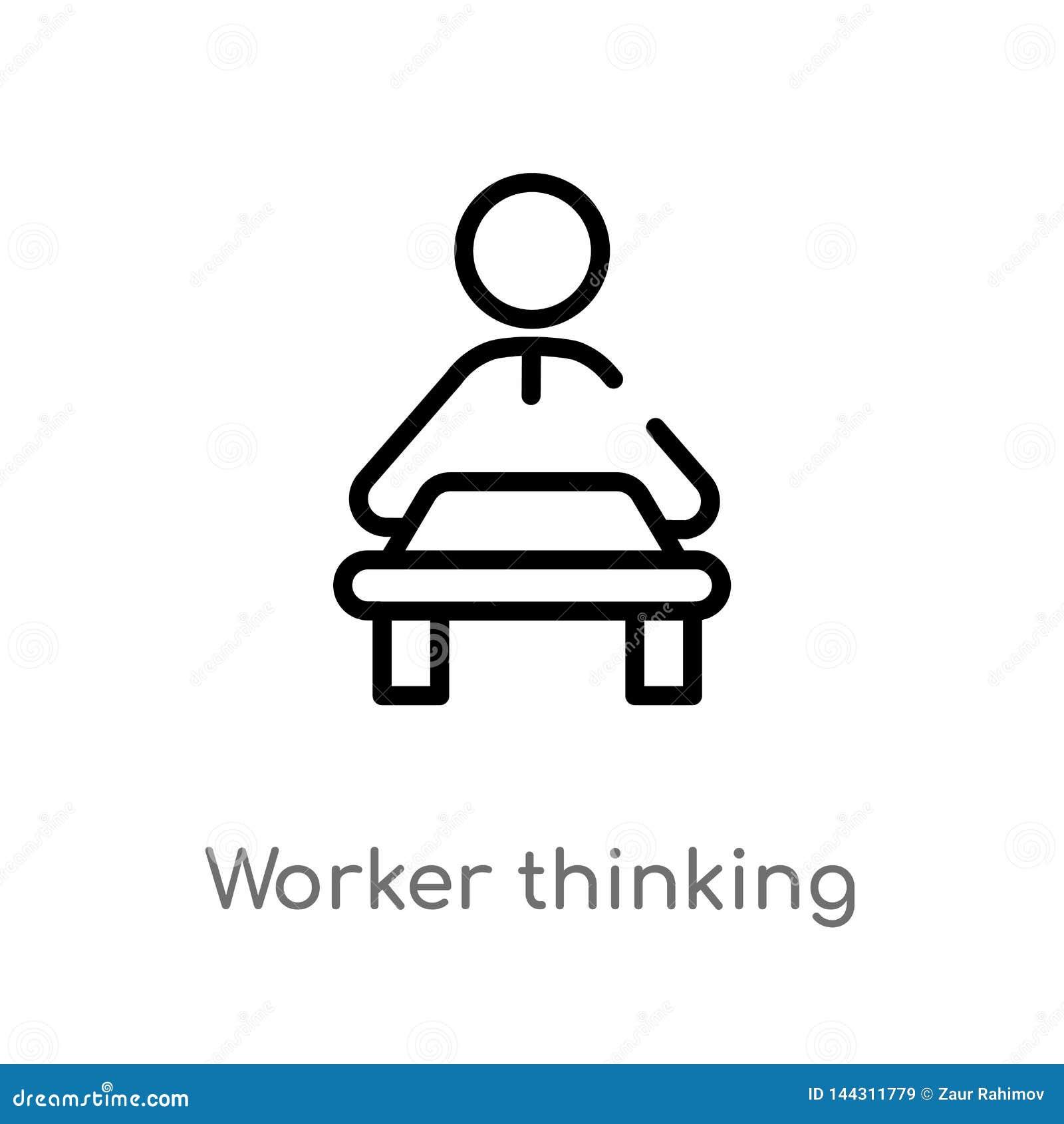 Ic?ne de pens?e de vecteur de travailleur d ensemble ligne simple noire d isolement illustration d ?l?ment de concept de personne