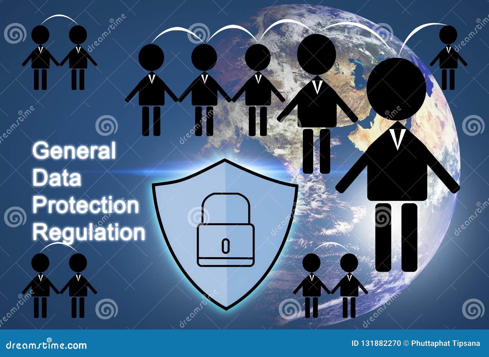 Icône de personnes et symbole de sécurité, UE du concept GDPR de protection des données