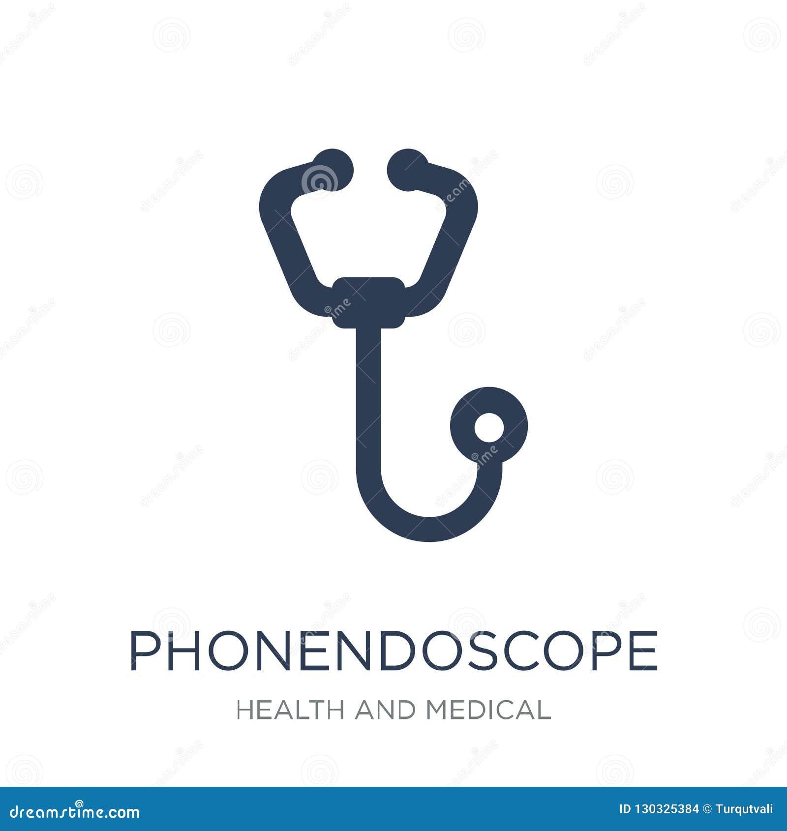Icône de Phonendoscope Icône plate à la mode de Phonendoscope de vecteur sur le whi