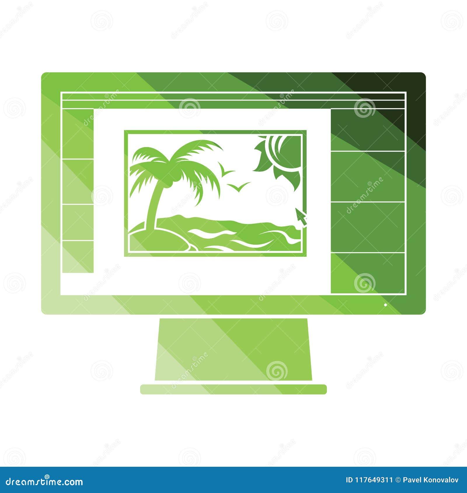 Icône de photographe éditeur sur l écran de moniteur
