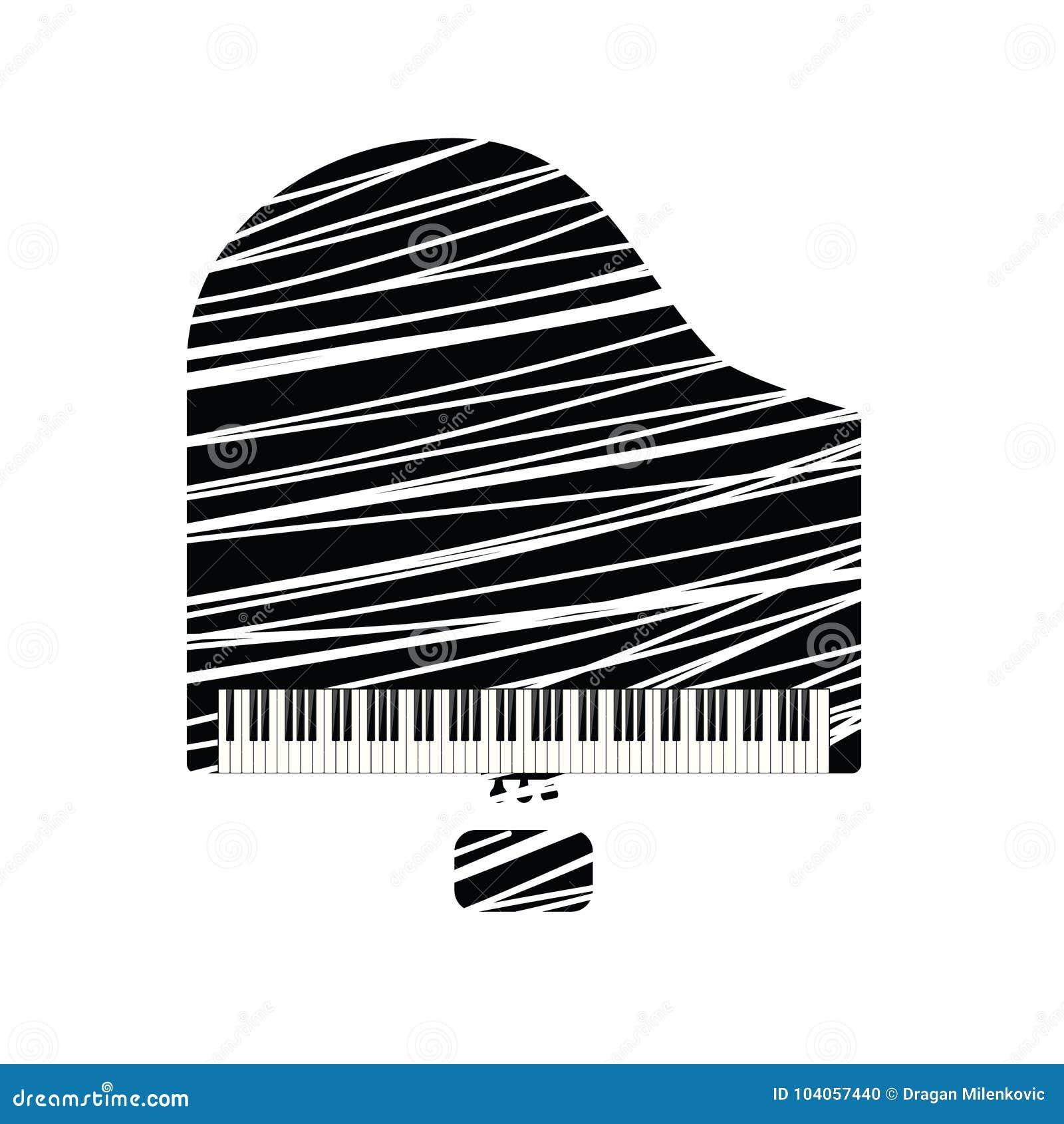 Icône de piano à queue avec la ligne blanche