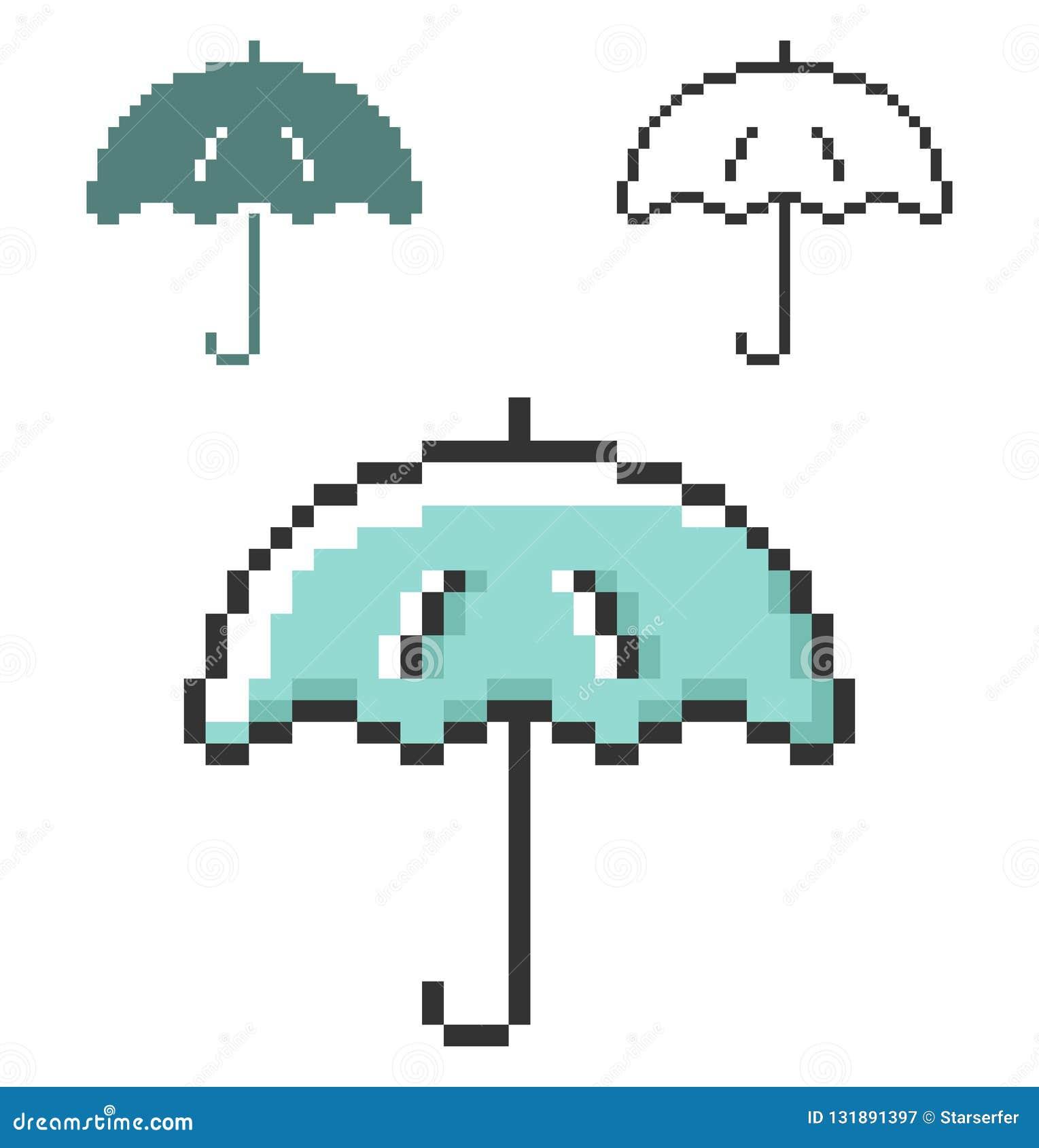 Icône De Pixel De Parapluie Dans Trois Variantes