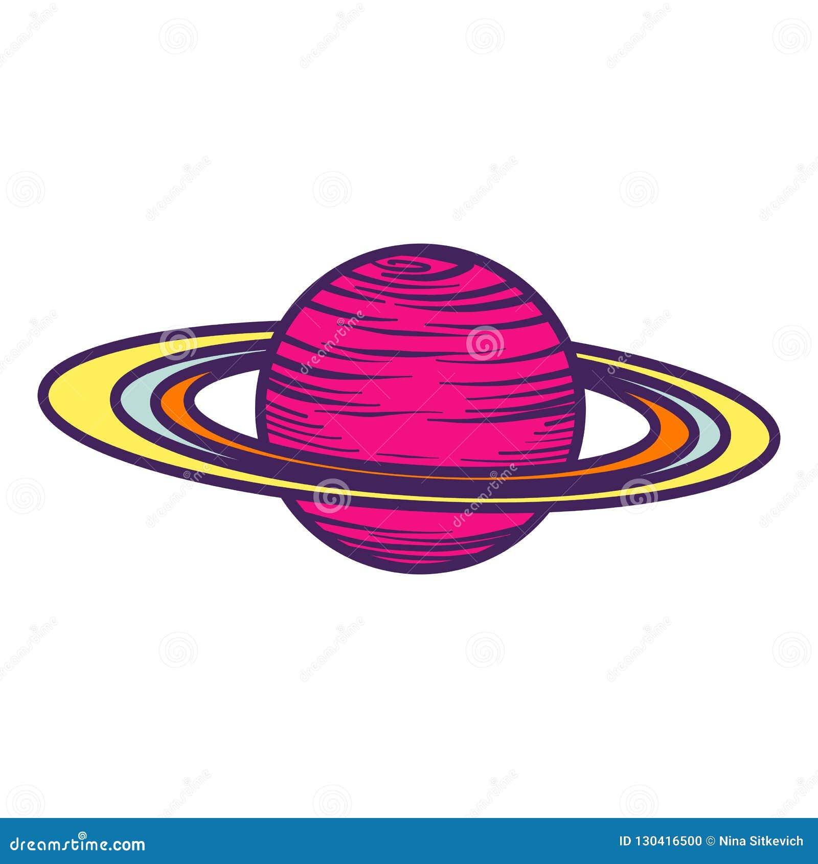 Icône de planète de Saturn, style tiré par la main