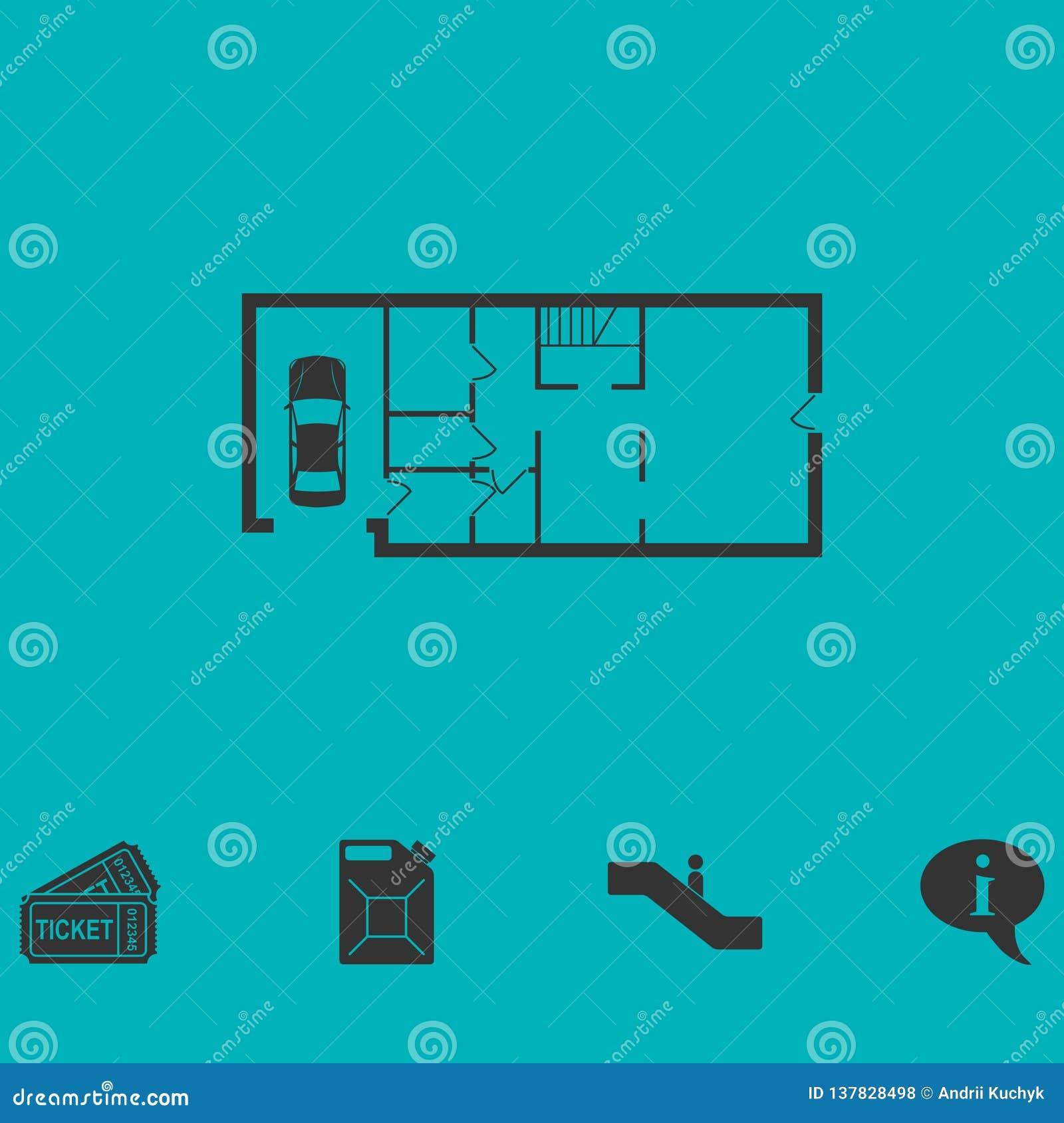 Icône de plan de Chambre à plat