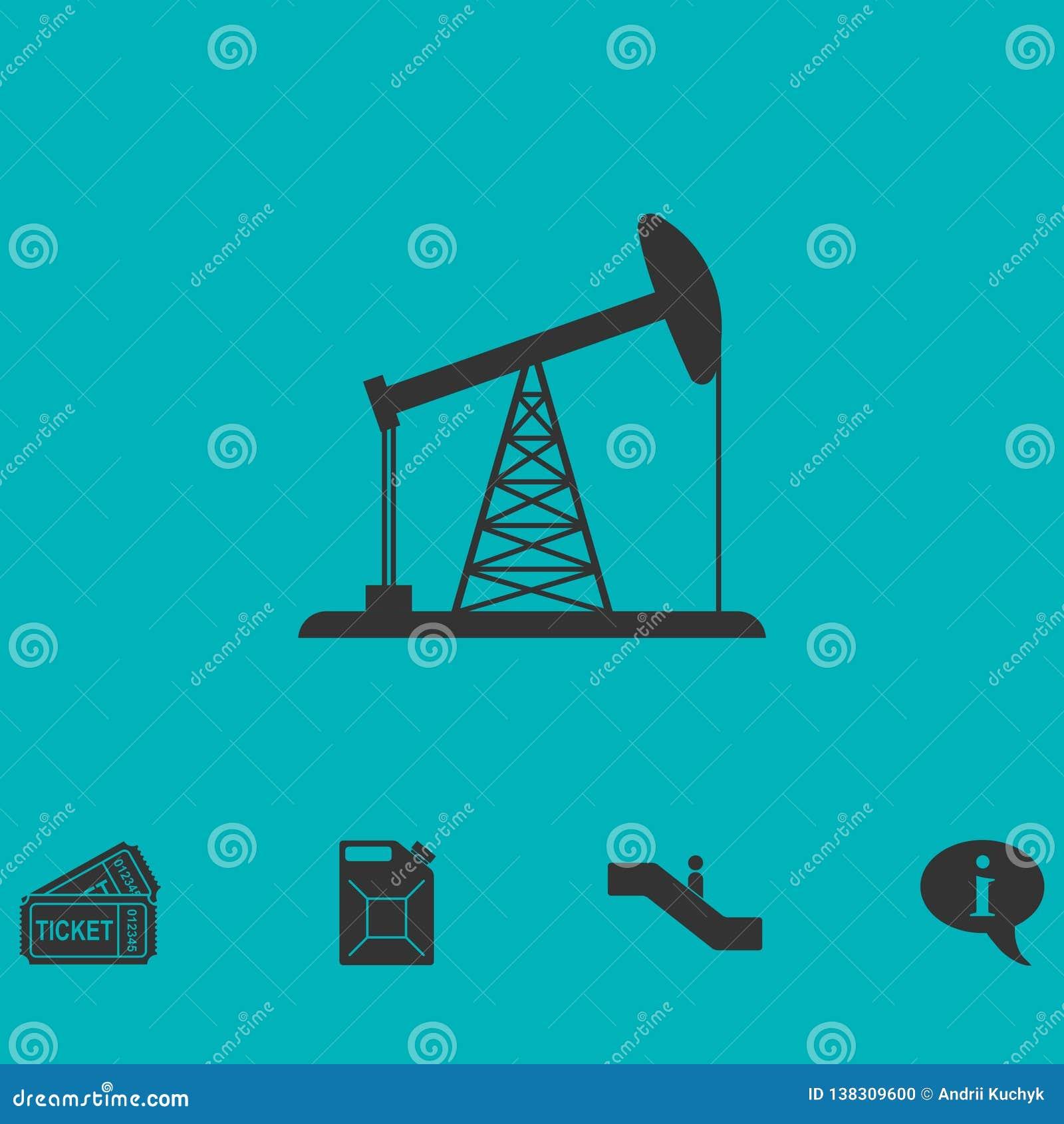 Icône de plate-forme pétrolière à plat