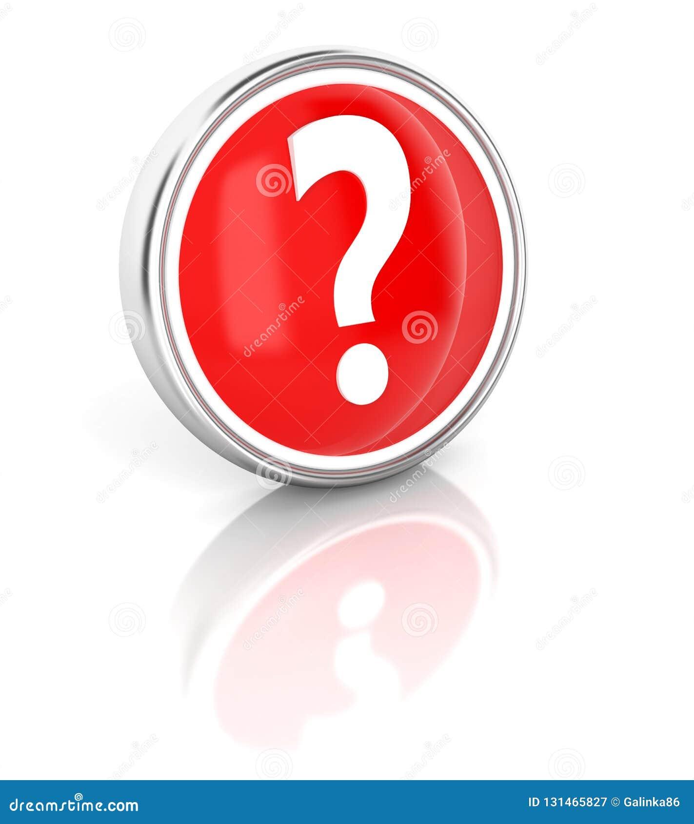 Icône de point d interrogation sur le bouton rond rouge brillant