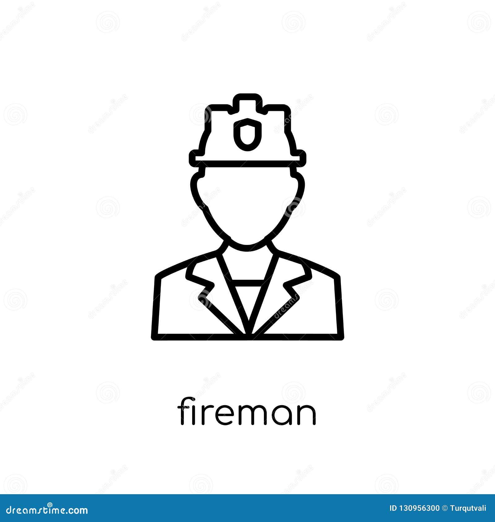 Icône de pompier Icône linéaire plate moderne à la mode de pompier de vecteur sur W