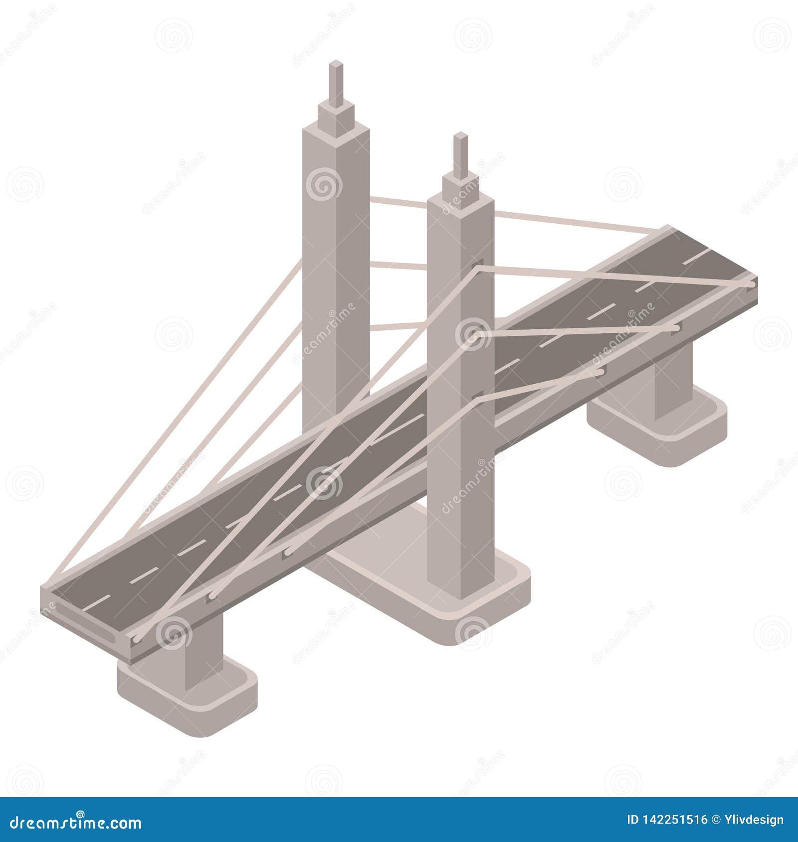 Icône de pont en fil en métal, style isométrique